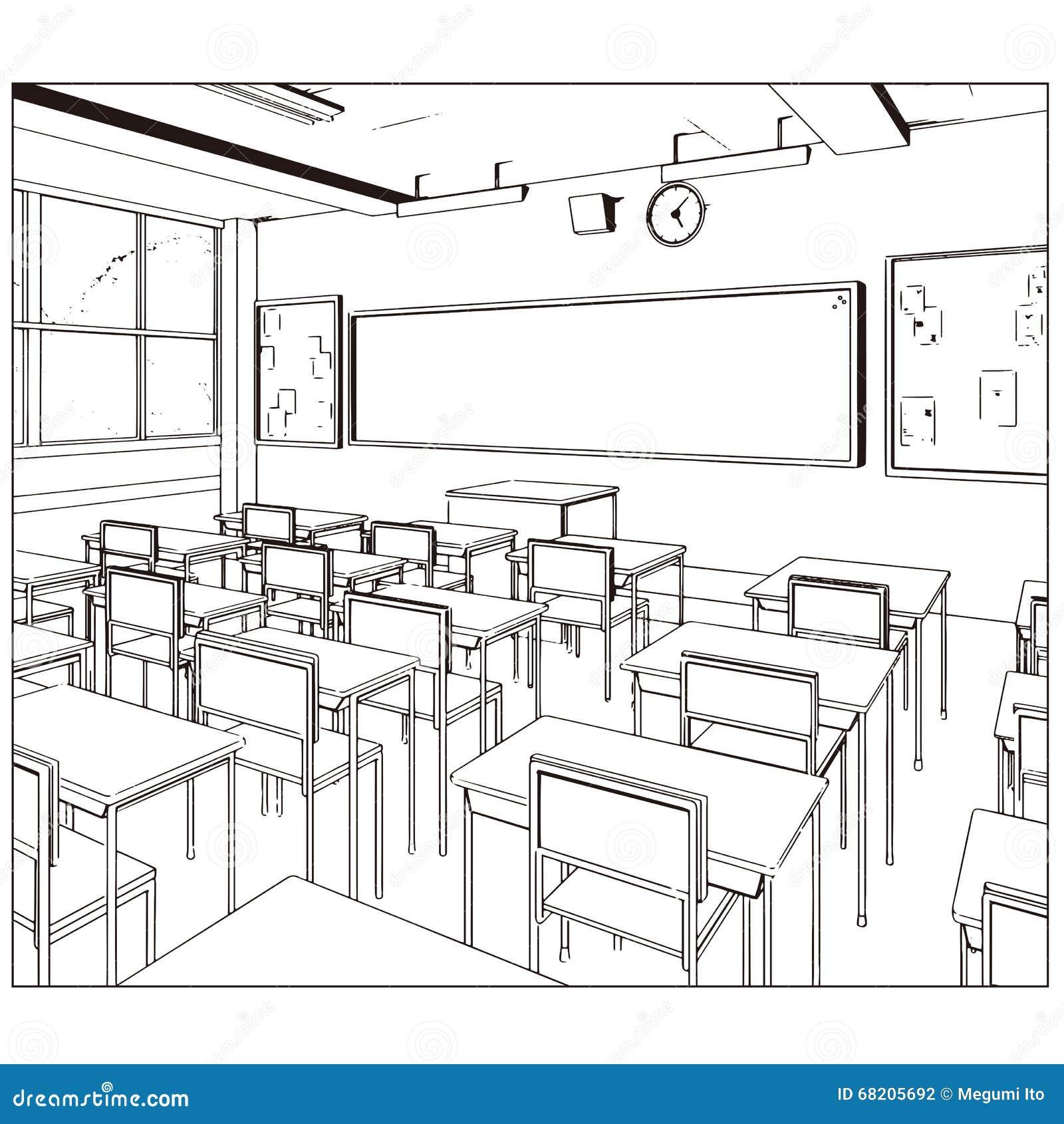 Dessin de vecteur d 39 une salle de classe illustration de for Logiciel dessin salle de bain