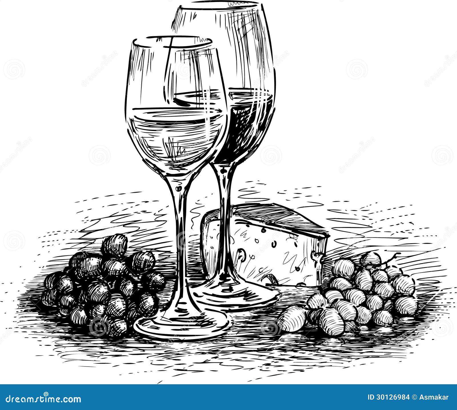 Verres fromage et raisin photo stock image du croquis 30126984 - Verre de vin dessin ...