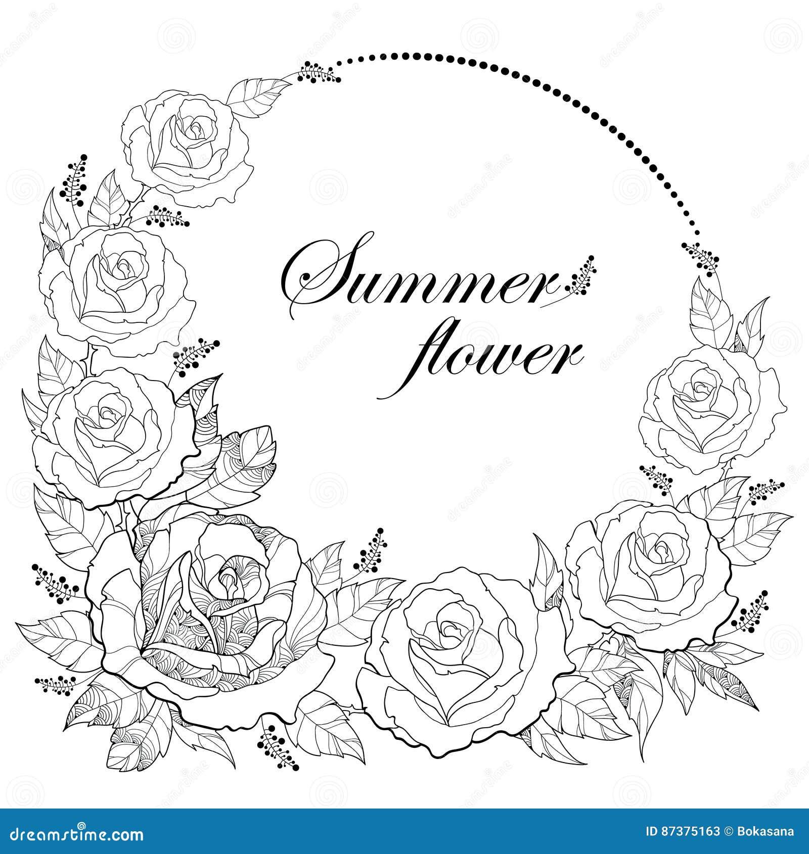 Coloriage Guirlande Fleurs.Dessin De Vecteur De Guirlande Ronde Avec La Fleur Rose D