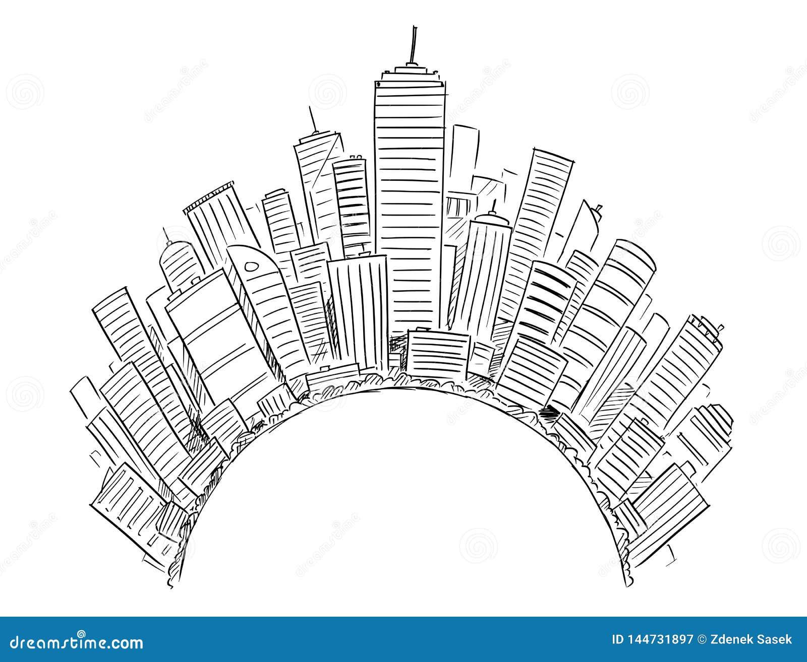 Dessin de vecteur des bâtiments ayant beaucoup d étages modernes génériques autour du demi-cercle ou du globe
