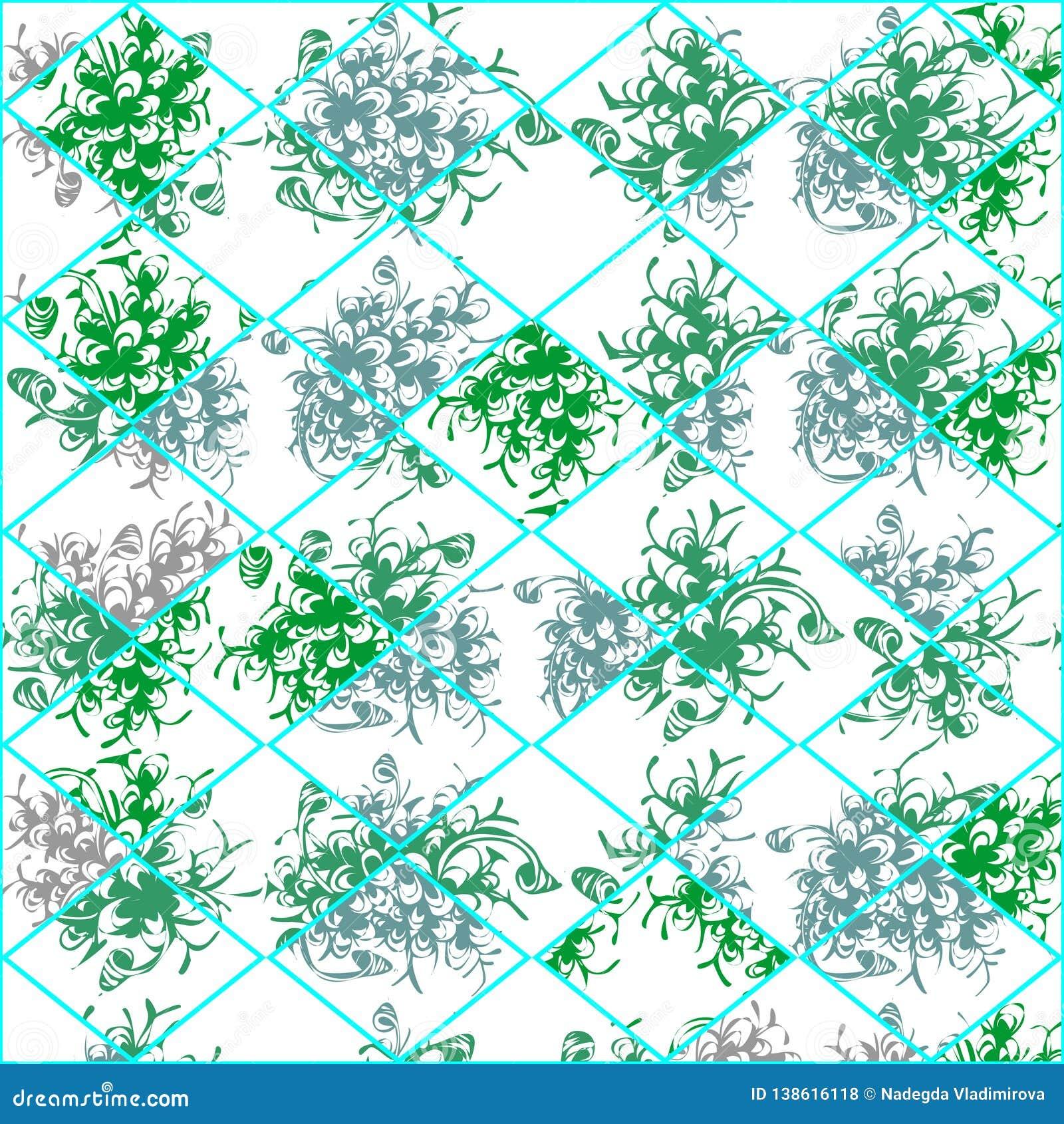 Dessin de vecteur des feuilles vertes des usines, texture florale fraîche