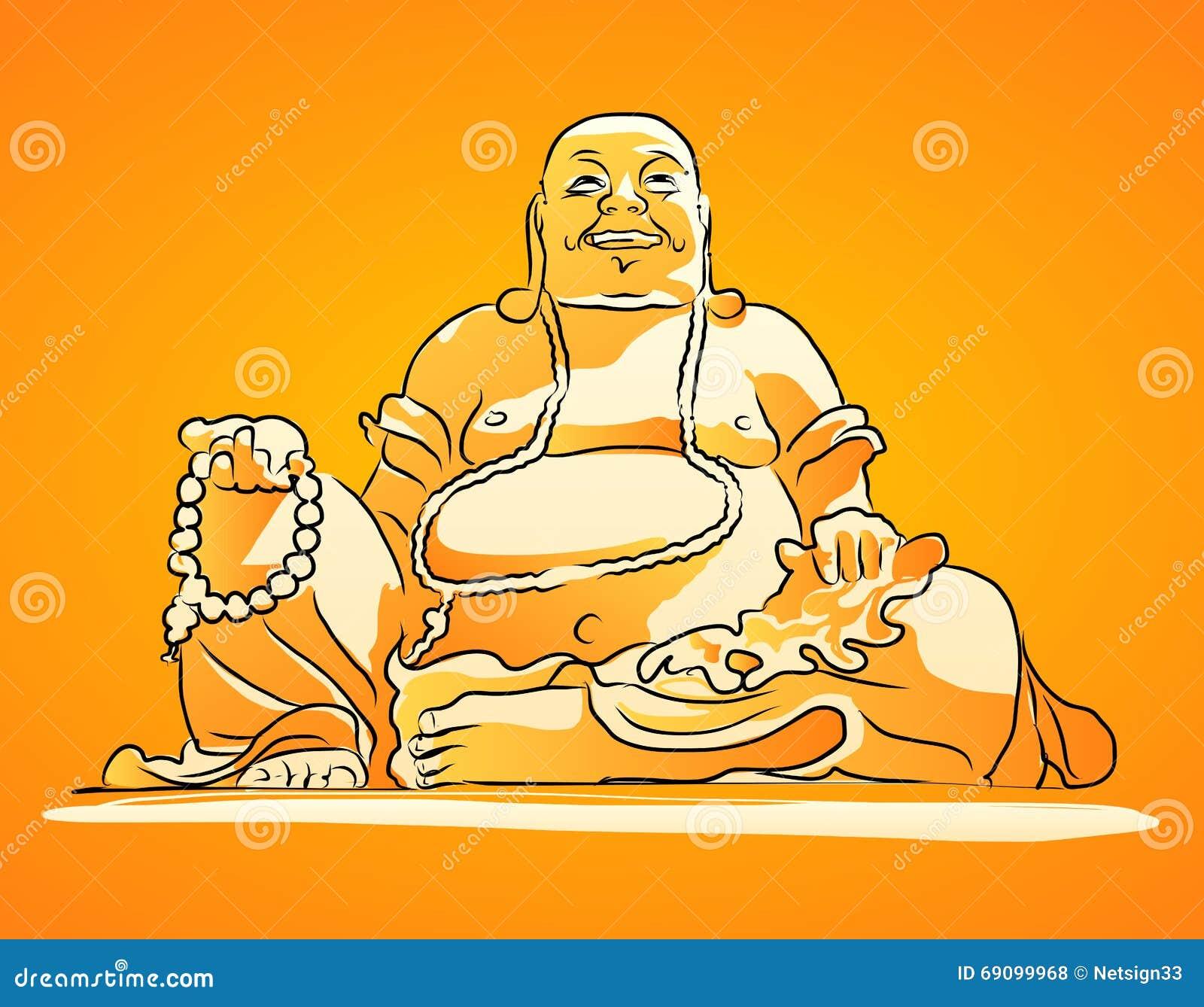dessin de vecteur ombrag par orange de maitreya bouddha photos libres de droits