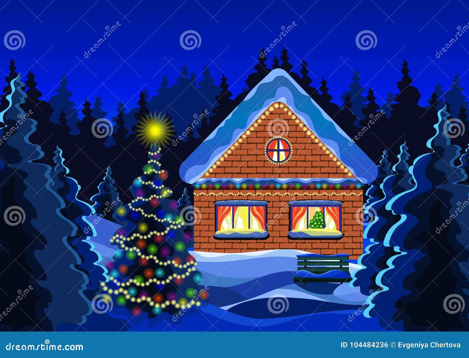Dessin de vecteur de paysage de noël dhiver forêt de neige dhiver de nuit décorée de la maison rustique de brique de guirlandes lumineuses et de larbre