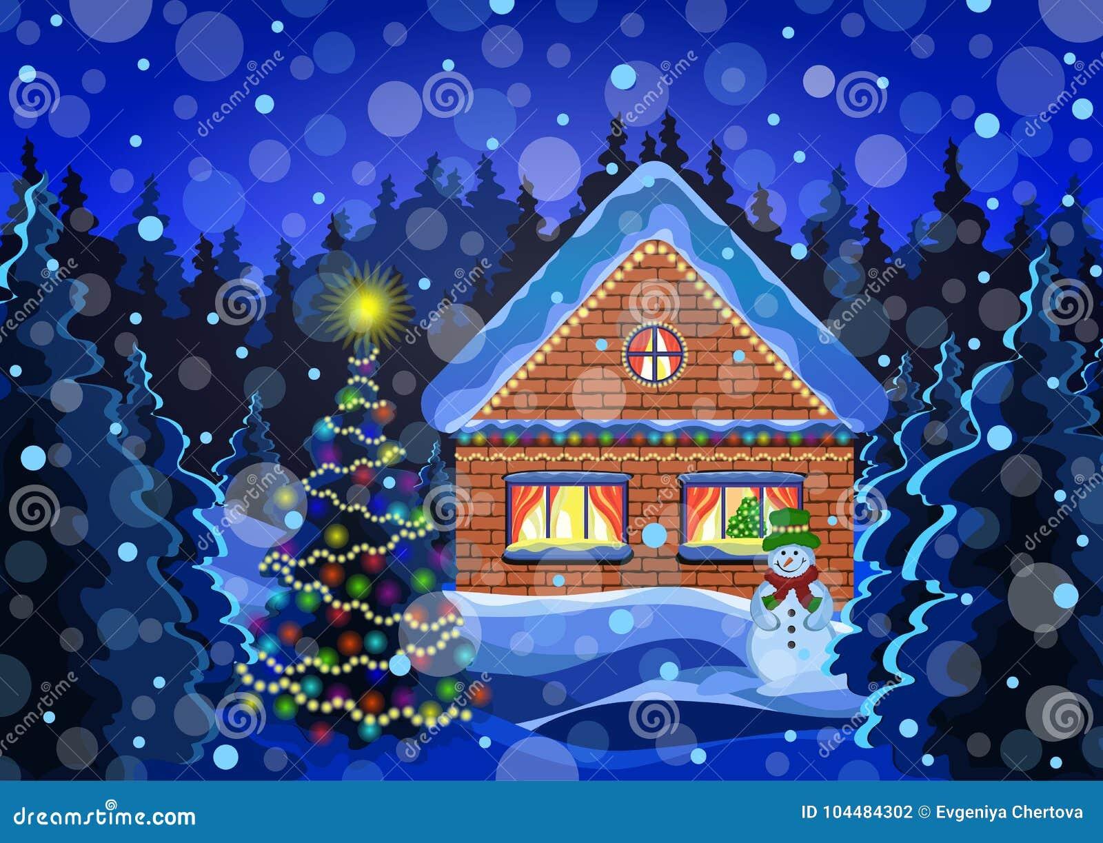 Dessin de vecteur de paysage de no l d 39 hiver la for t de neige d 39 hiver de nuit avec les flocons - Paysage enneige dessin ...