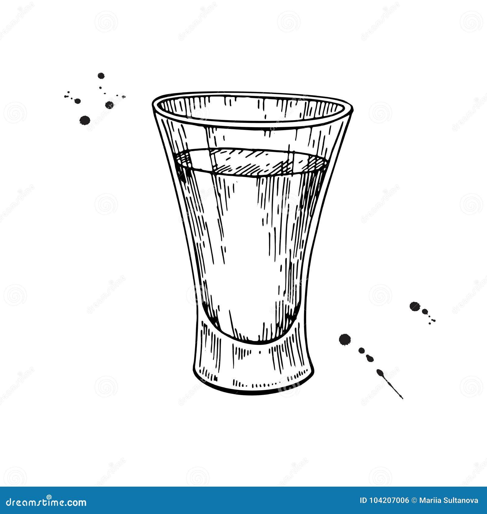 Dessin de verre liqueur tequila vodka cocktail vect - Dessin de verre ...