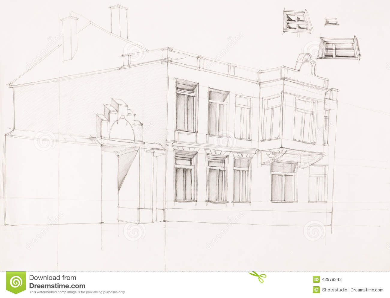 Dessin de vieille fa ade de maison illustration stock for Dessin facade maison