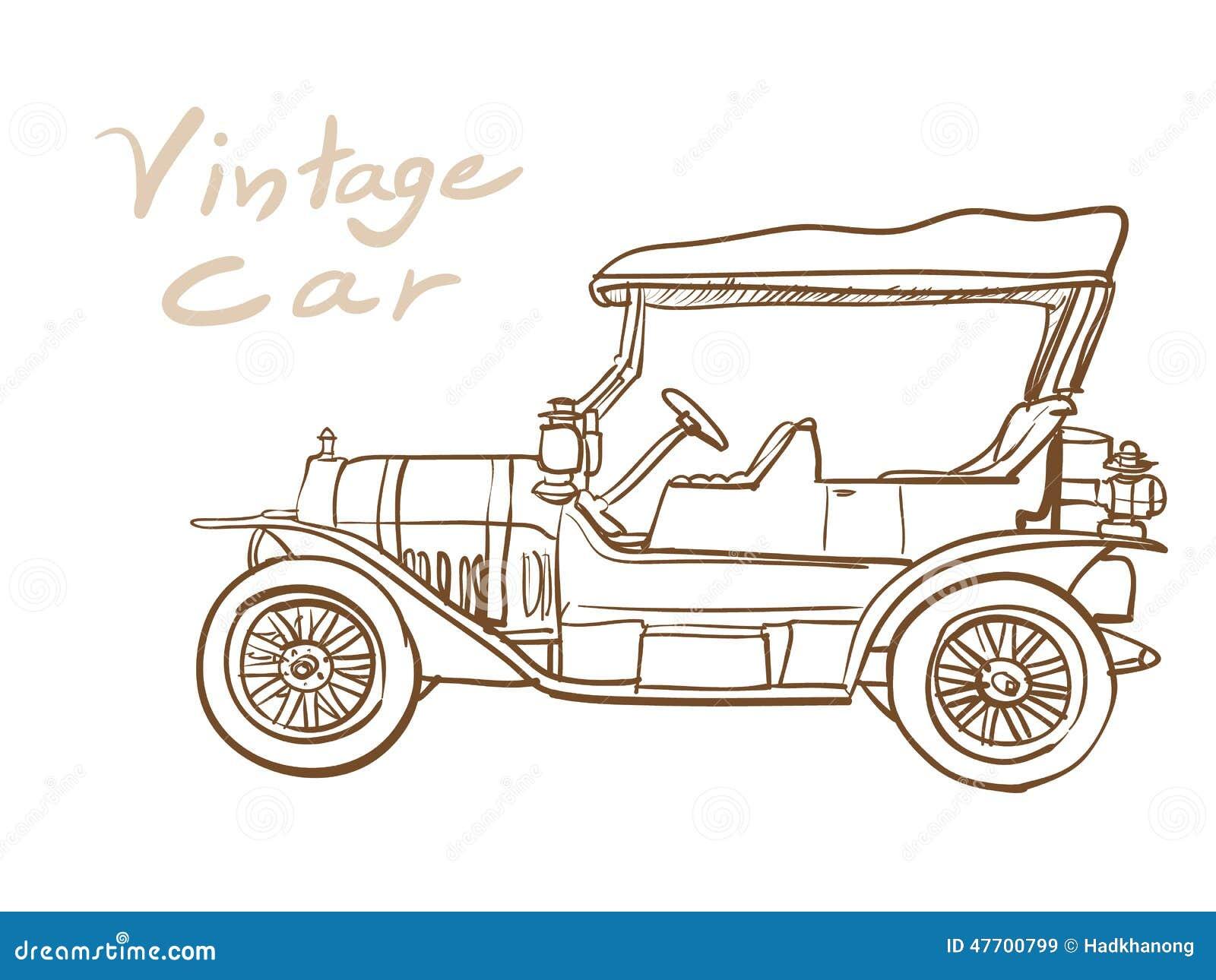 Dessin de vieille voiture de vintage illustration de vecteur illustration du noir classique - Dessin vieille voiture ...