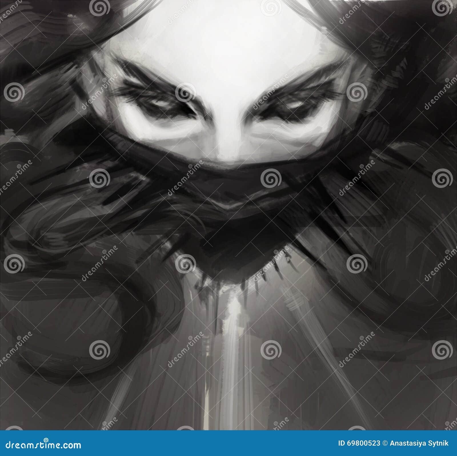 Dessin de visage de jeune femme dans le style noir - Dessin gothique ...