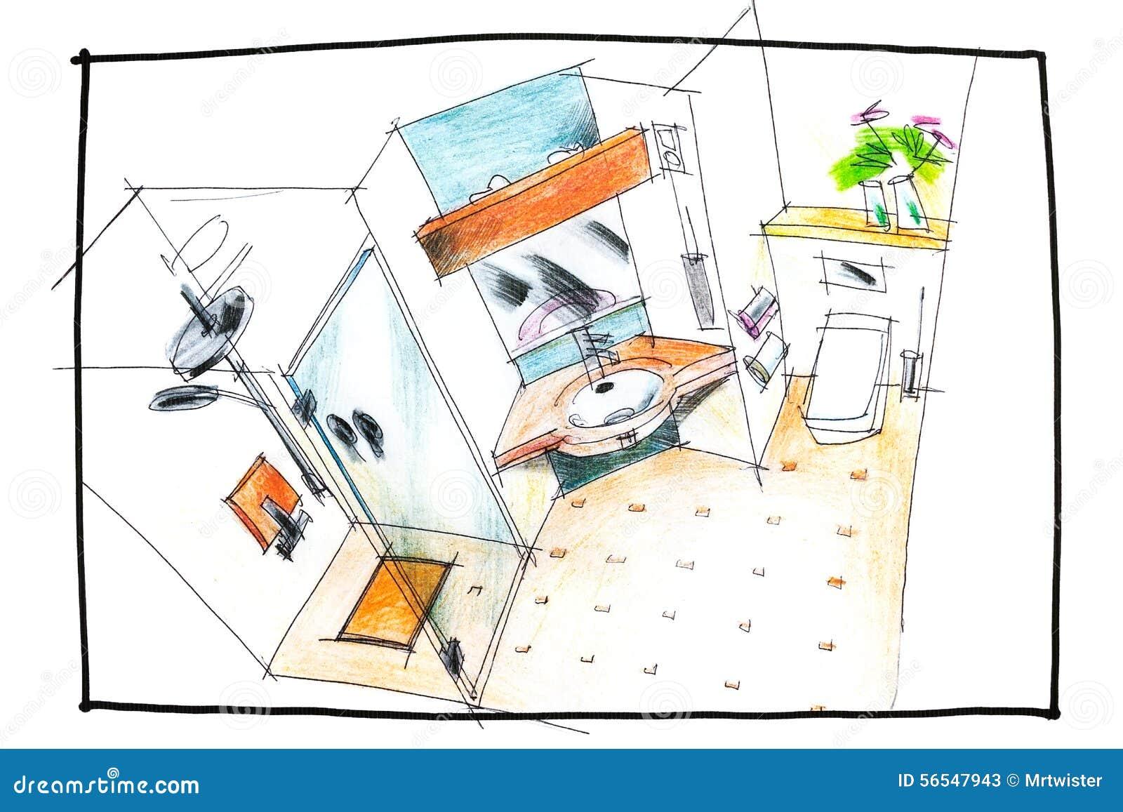Dessin de vue sup rieure de salle de bains photo stock for Dessin salle de bain 3d
