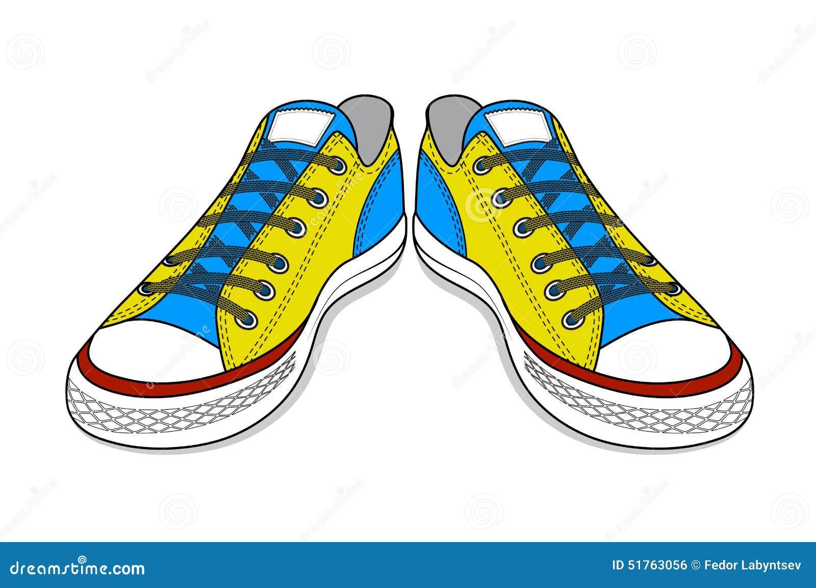 dessin des chaussures de sports chaussures faciles de la jeunesse image libre de droits