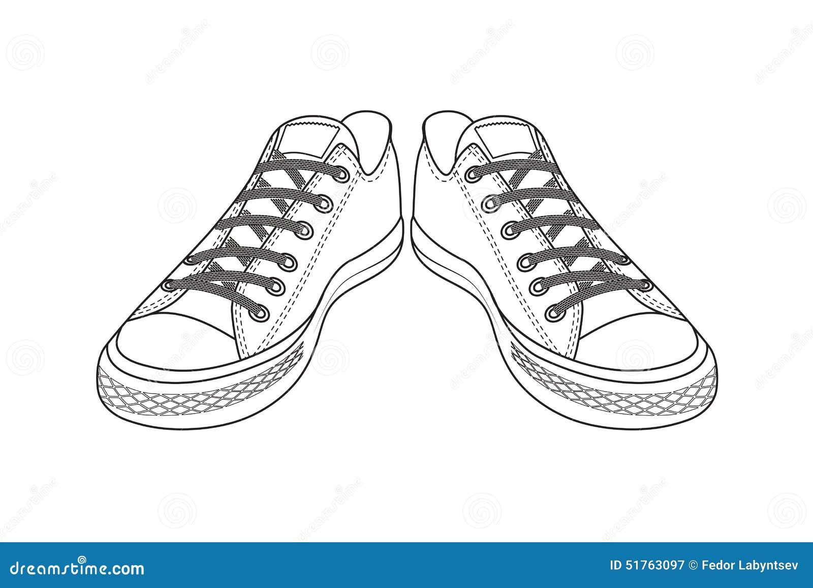 Dessin des chaussures de sports chaussures faciles de la jeunesse  Photographie stock libre de droits