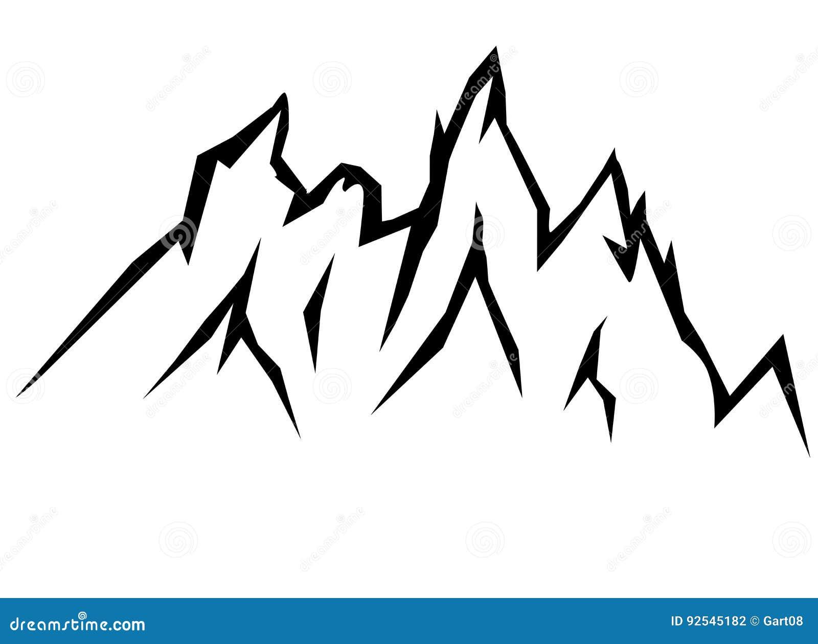 Dessin des montagnes contour des cr tes de montagne - Dessin contour ...