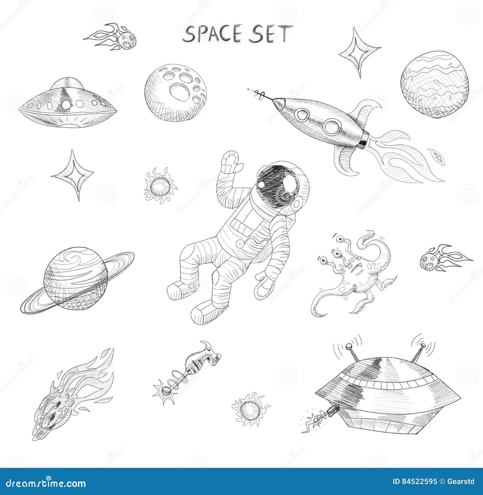 Dessin des objets de l 39 espace astronaute tranger ufo - Dibujos infantiles del espacio ...