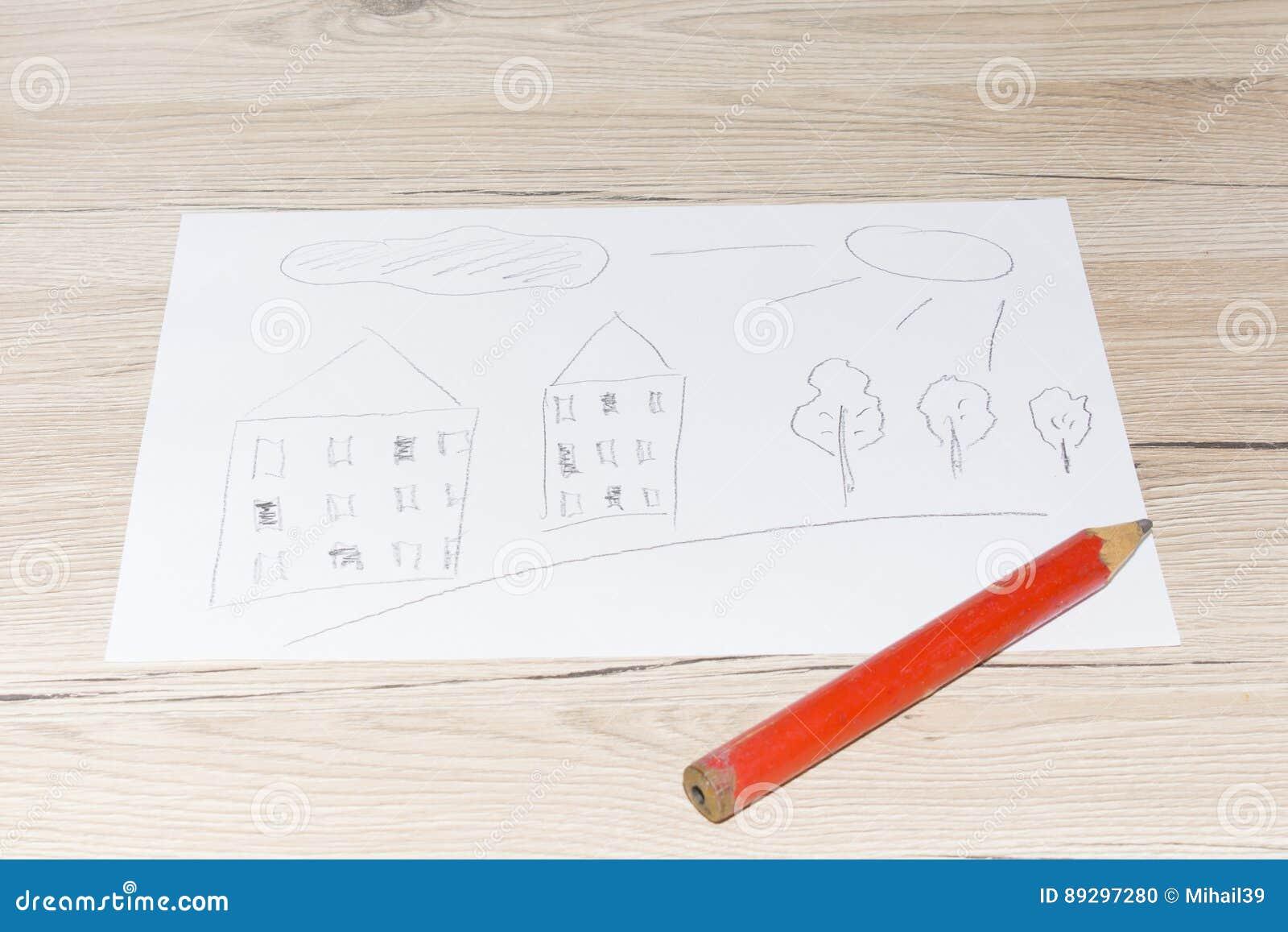 Dessin Du S D Enfant Avec Un Crayon Simple Sur Une Feuille De