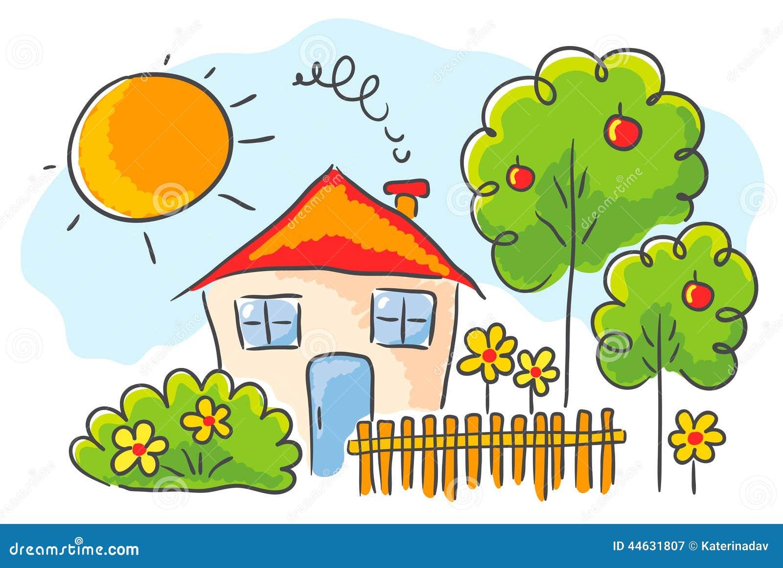 Dessin du s d 39 enfant d 39 une maison illustration de for Maison pour enfant jardin