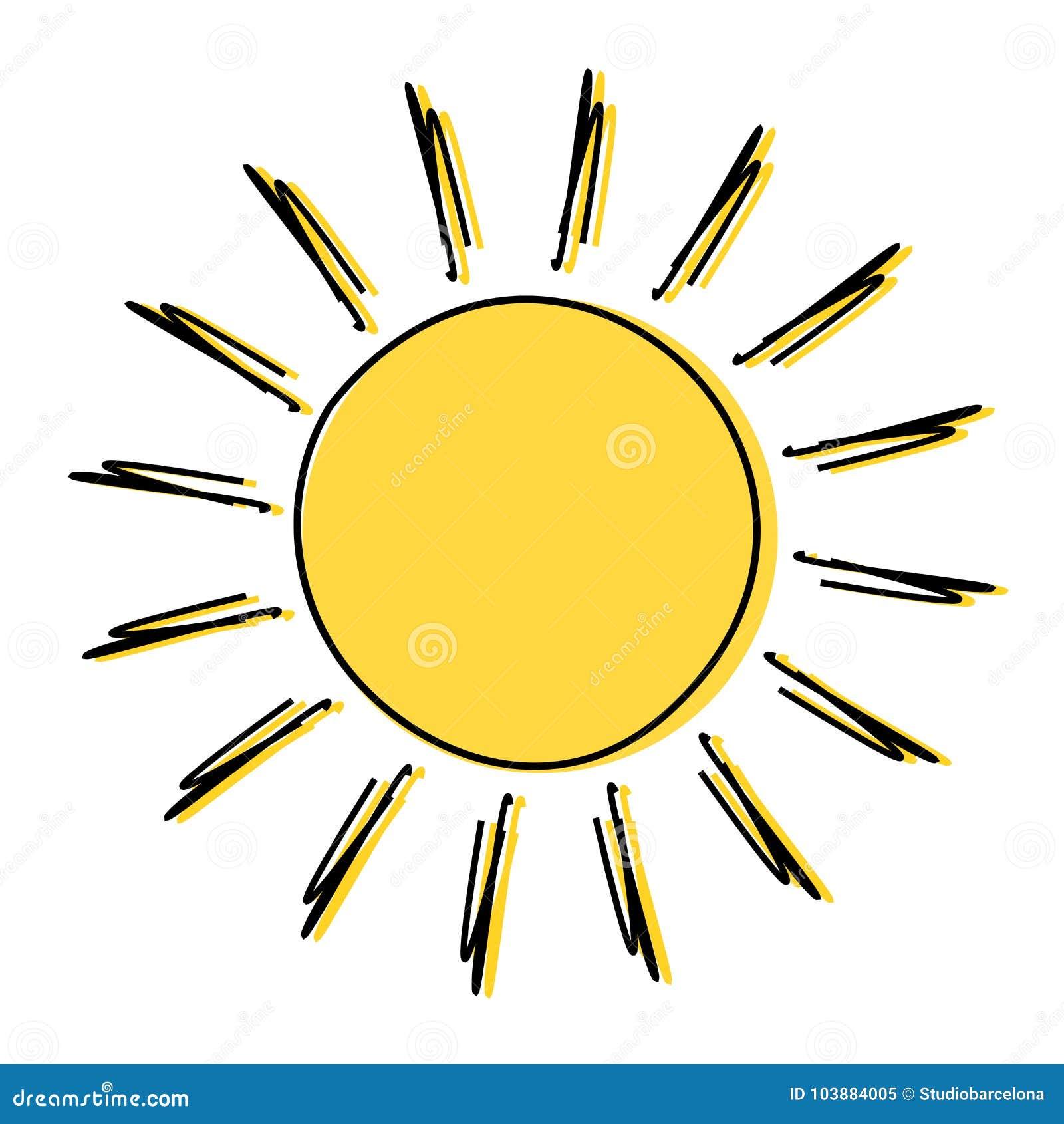 Dessin Du Soleil De Griffonnage Illustration de Vecteur ...