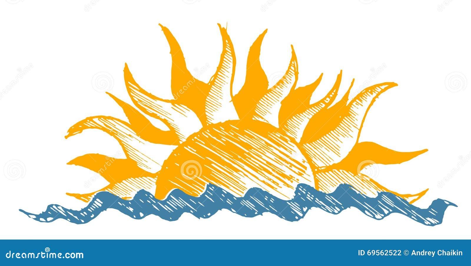 Dessin du soleil et de mer illustration de vecteur - Dessin du soleil ...