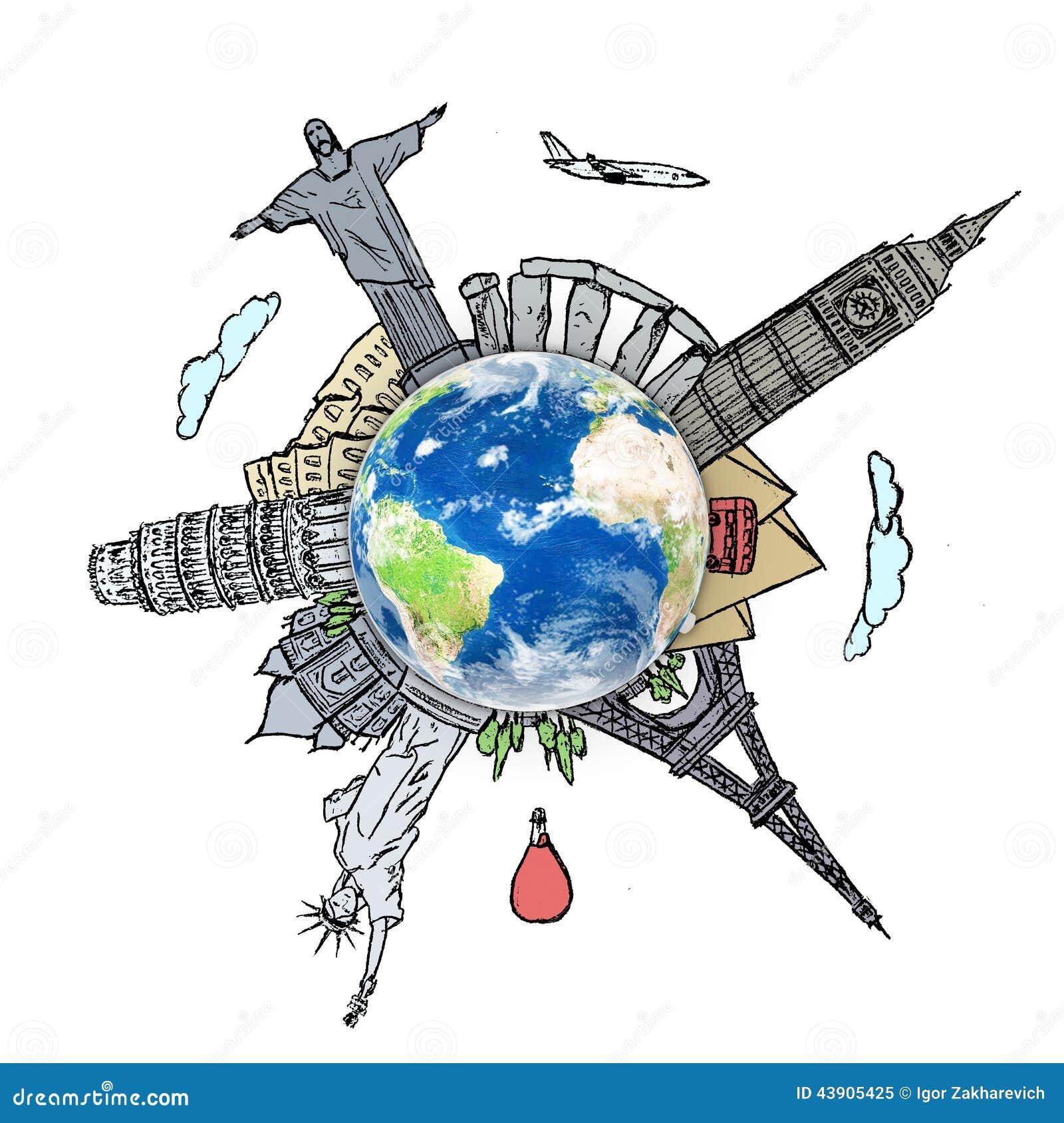 Dessin du voyage r veur autour du monde dans un tableau - Decoration voyage autour du monde ...
