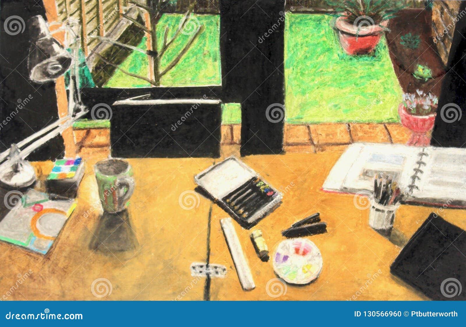 Dessin En Pastel De La Table De L\'artiste Avec La Tasse ...