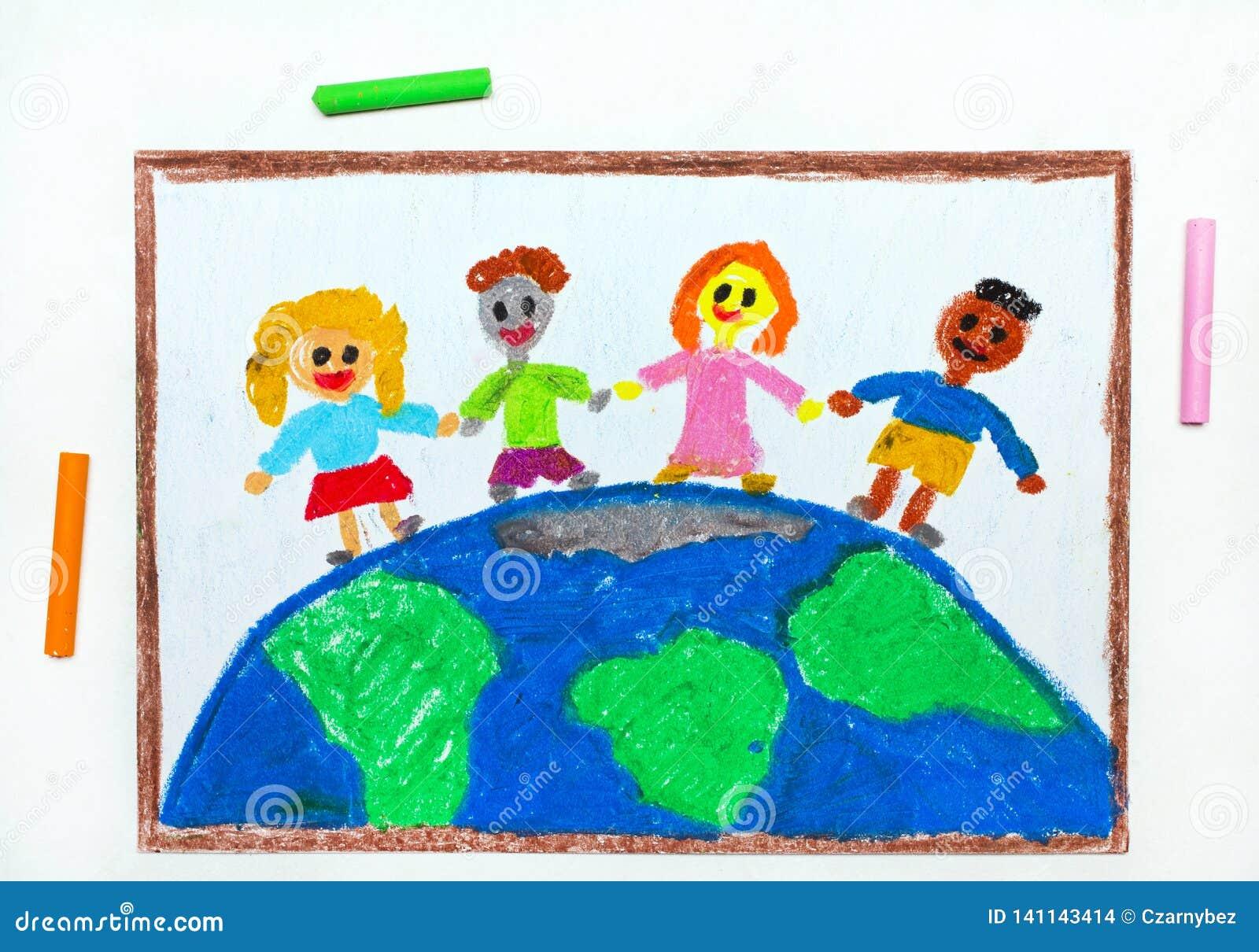 Dessin Enfants Internationaux Du Monde Illustration Stock