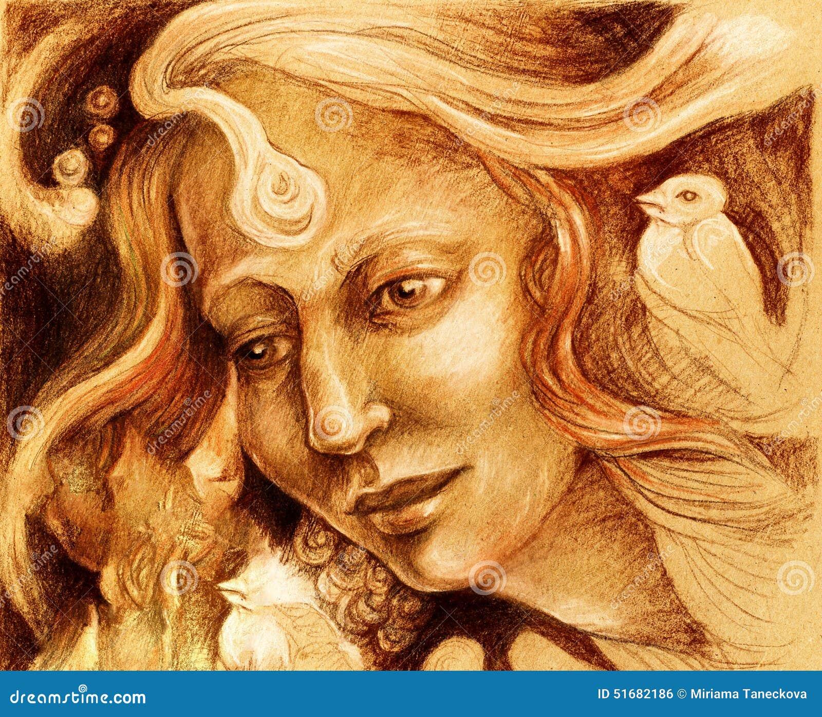 Dessin f erique de visage de femme portrait monochromatique de profil de s pia illustration - Visage profil dessin ...