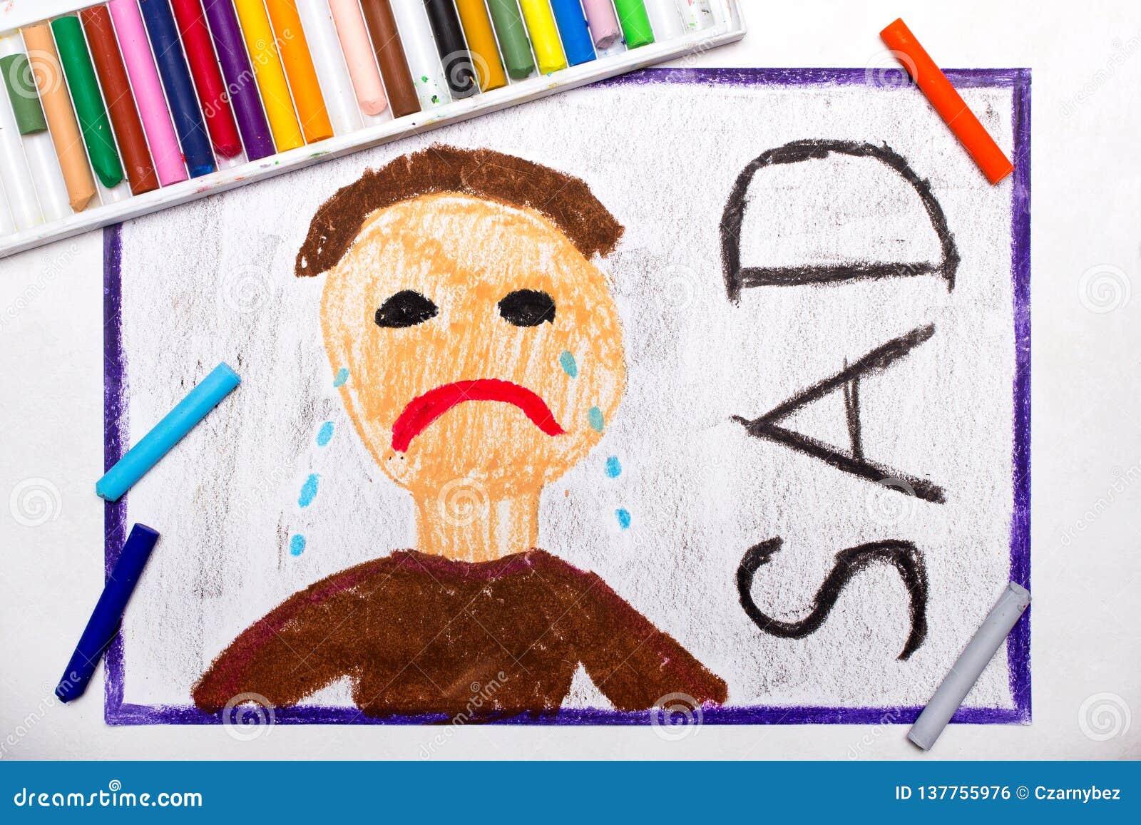 Dessin Homme Triste Pleurant Et Mot Tristes Illustration