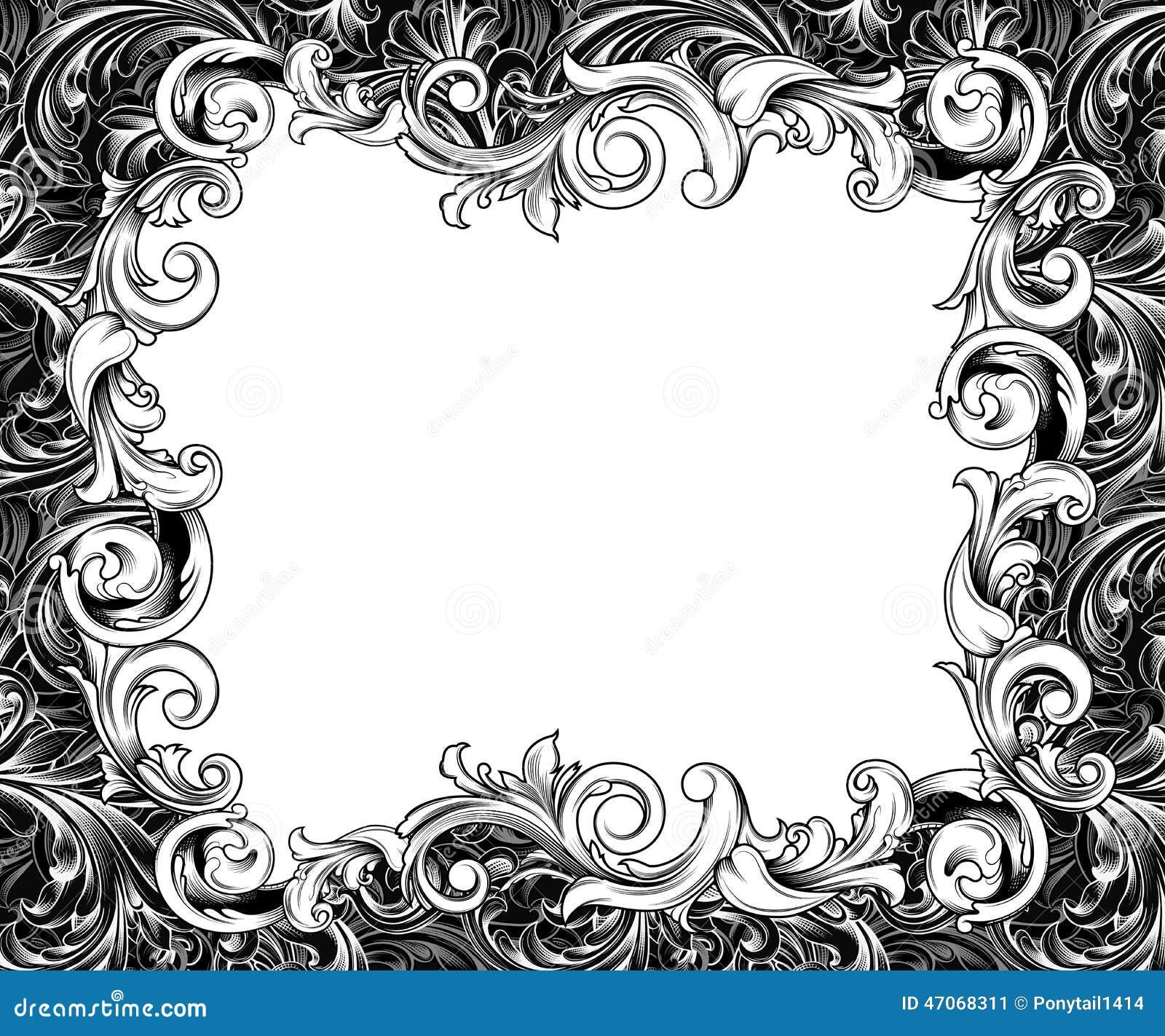 Dessin horizontal baroque d 39 encre de cadre illustration stock illustration du curlicues - Cadre photo dessin ...