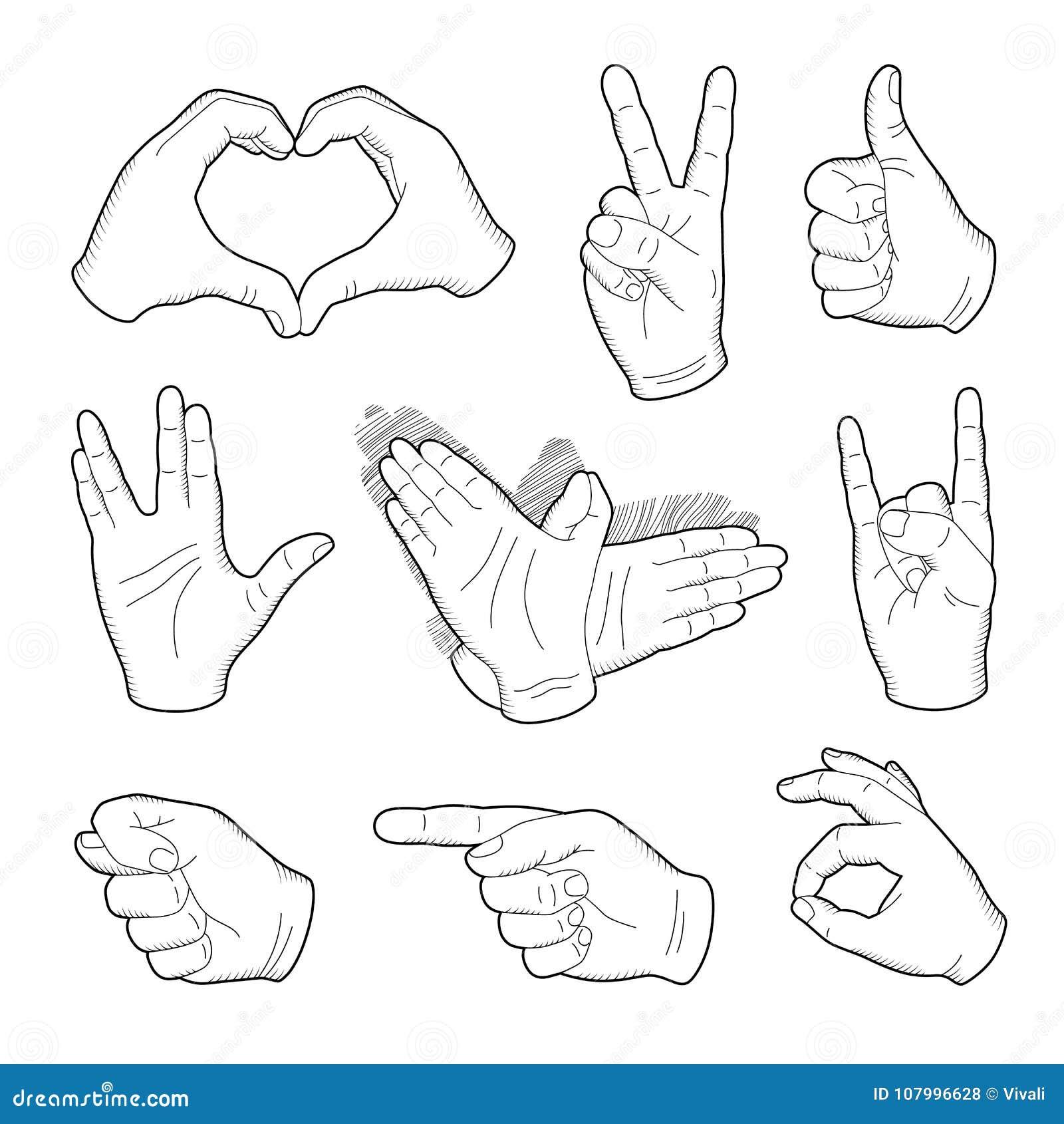 Dessin humain de main de vintage avec diriger le doigt le - Dessin de doigt ...