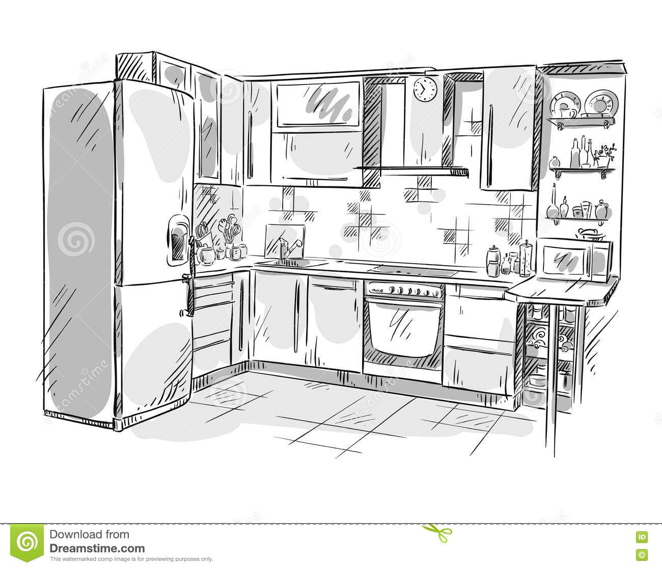 dessin int rieur de cuisine illustration de vecteur illustration de vecteur illustration du. Black Bedroom Furniture Sets. Home Design Ideas