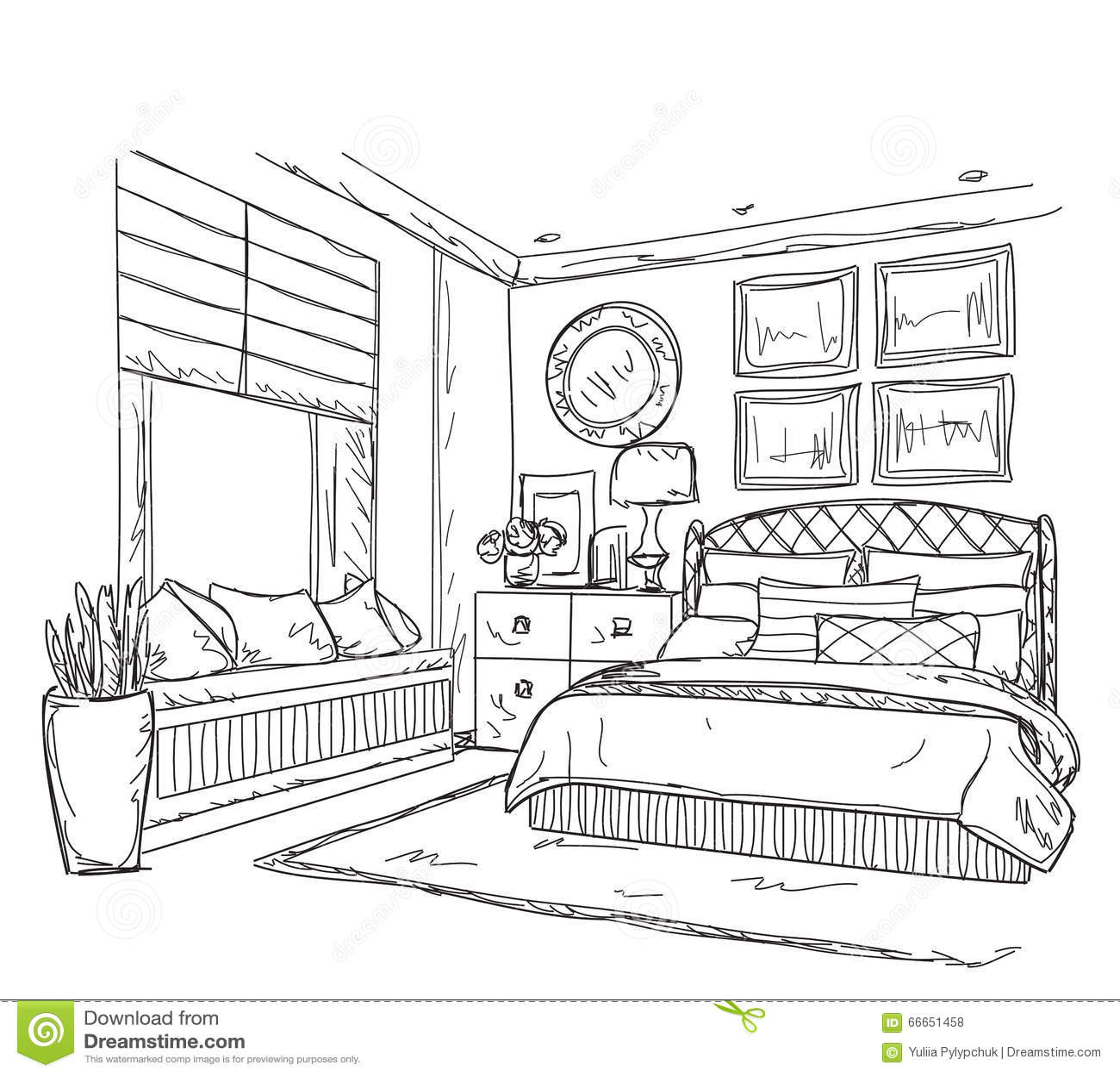 E Dessin Chambre : Dessin intérieur moderne de chambre à coucher illustration