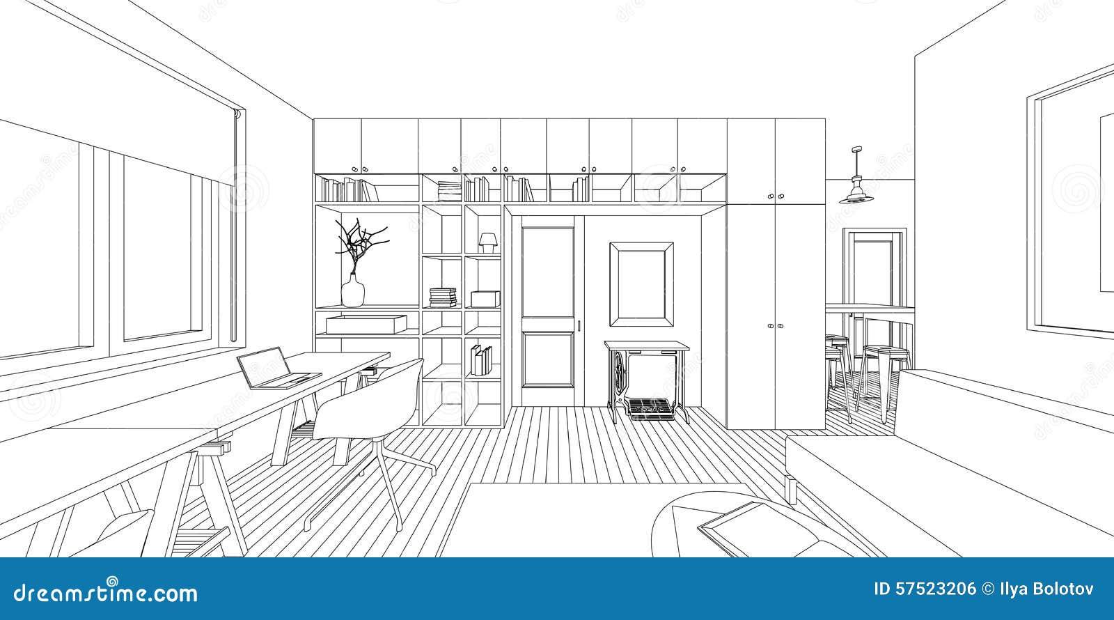 Dessin int rieur illustration de vecteur image 57523206 for Croquis salon