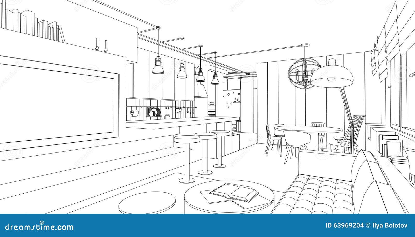 dessin int rieur de vecteur illustration de vecteur. Black Bedroom Furniture Sets. Home Design Ideas