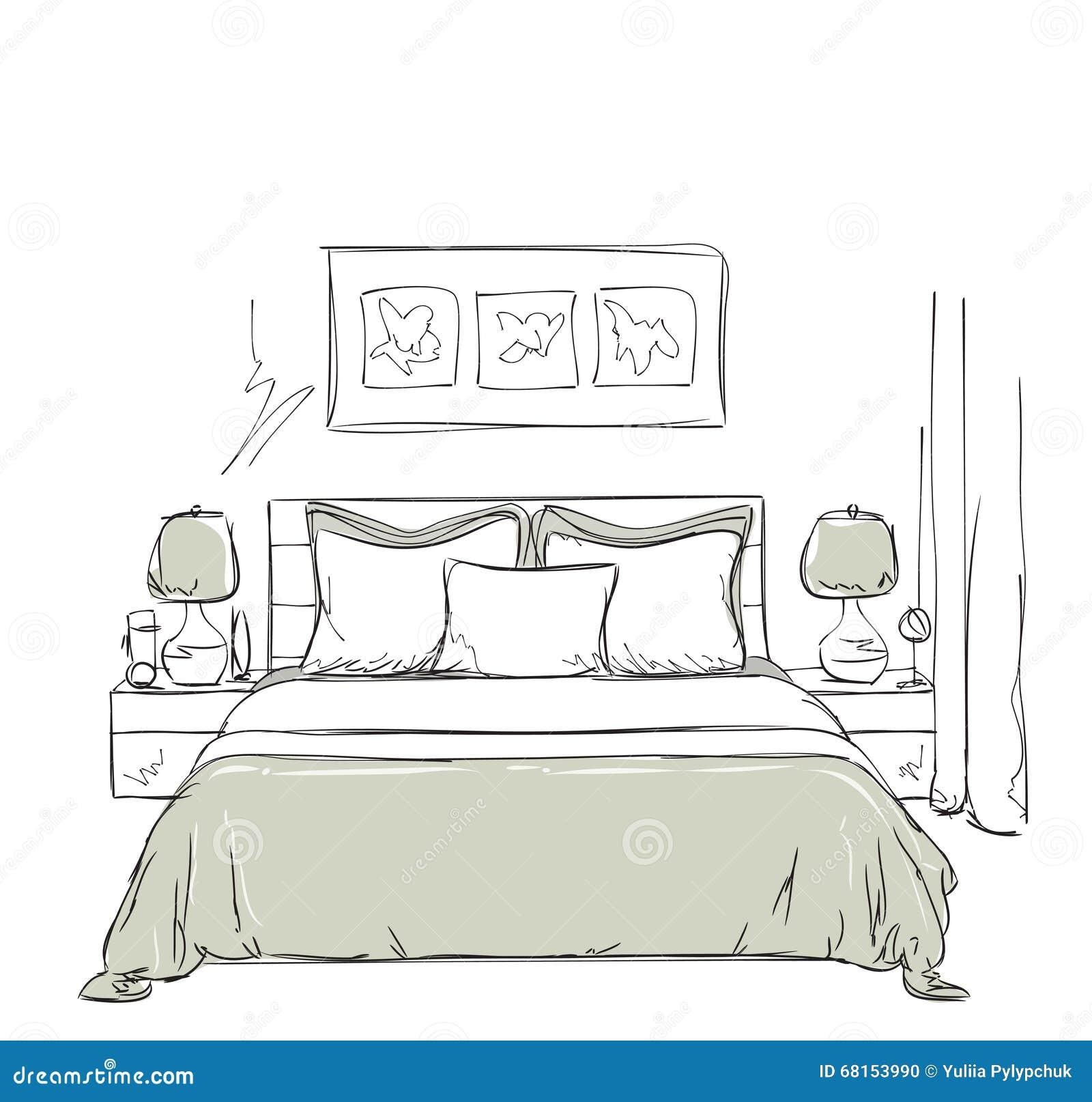 Dessin Int Rieur Moderne De Chambre Coucher Illustration De Vecteur Image 68153990
