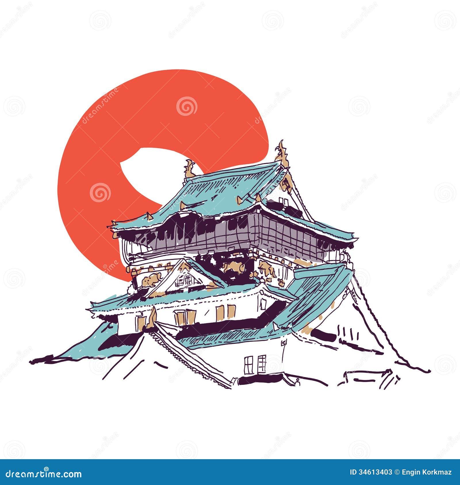 dessin japonais de maison illustration de vecteur illustration du porcelaine 34613403. Black Bedroom Furniture Sets. Home Design Ideas