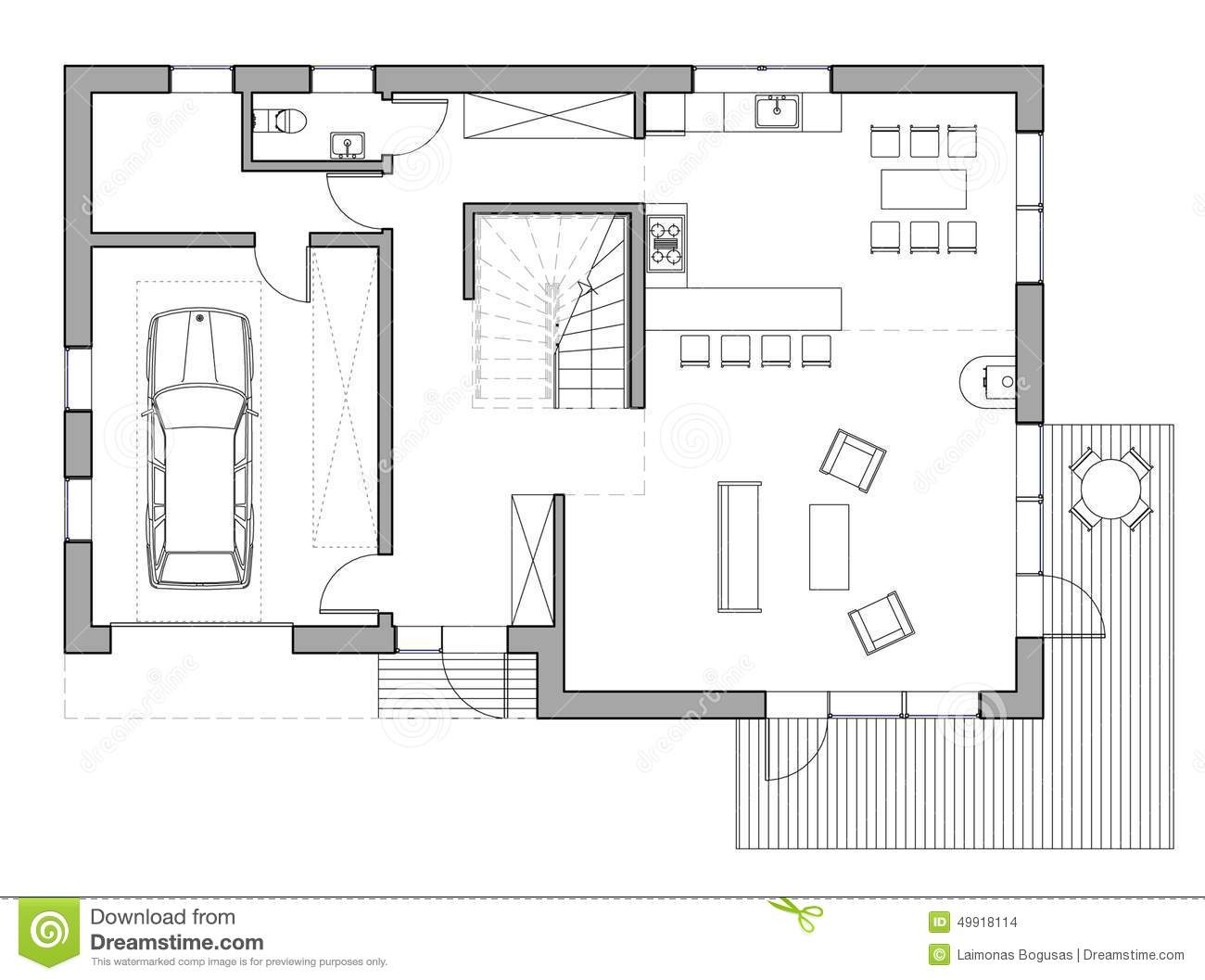 Dessin maison unifamiliale illustration stock image for Piani di progettazione del garage