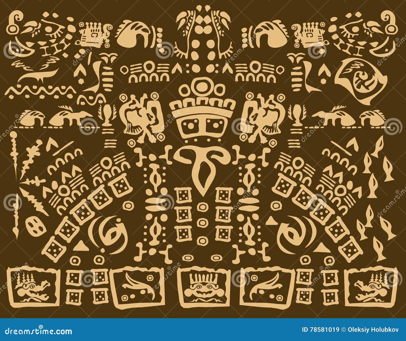 Calendrier Maya Dessin.Dessin Maya Des Symboles Antiques Illustration De Vecteur