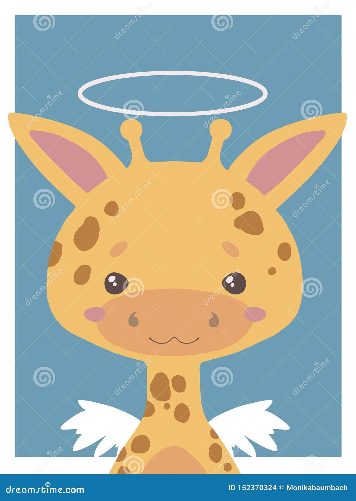 Dessin mignon d animal de vecteur de style de bande dessinée d une girafe d ange gardien avec le halo et des ailes appropriées à