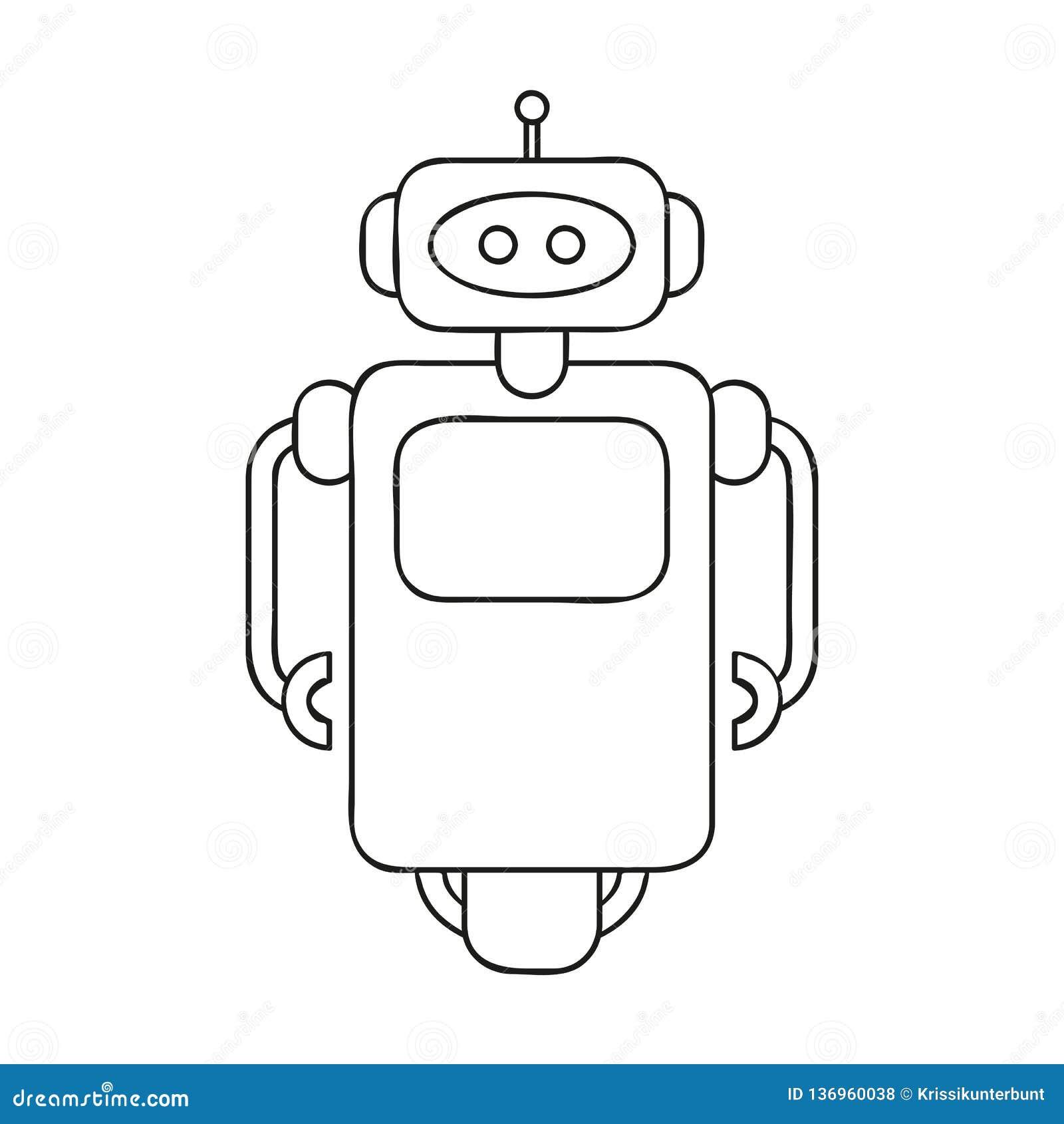 Coloriage Robot Fille.Dessin Mignon D Ensemble De Robot Pour Livre De Coloriage