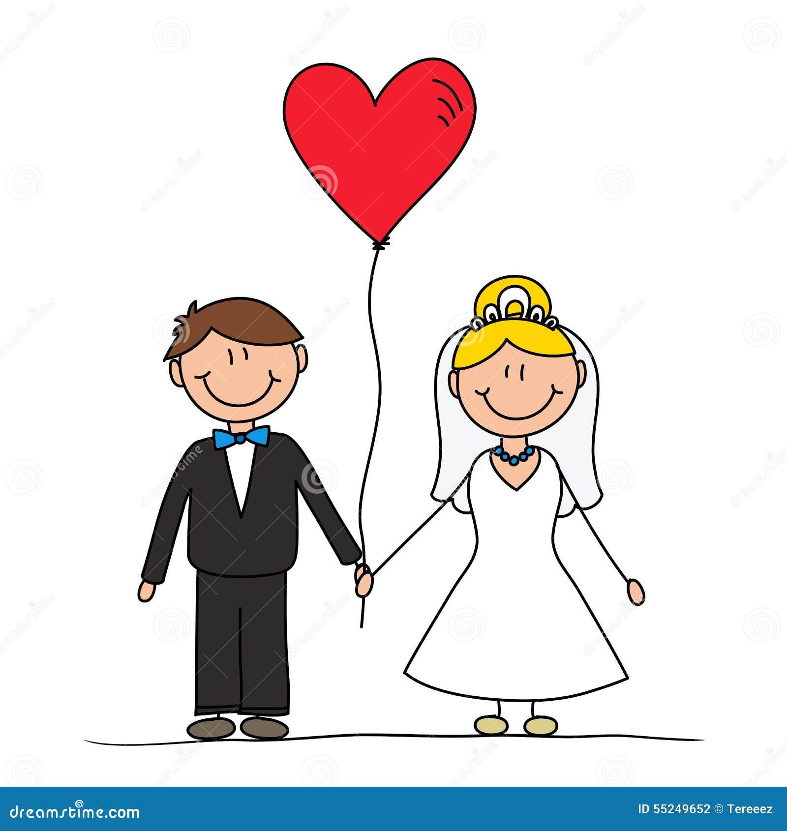 dessin mignon de couples de mariage illustration stock. Black Bedroom Furniture Sets. Home Design Ideas