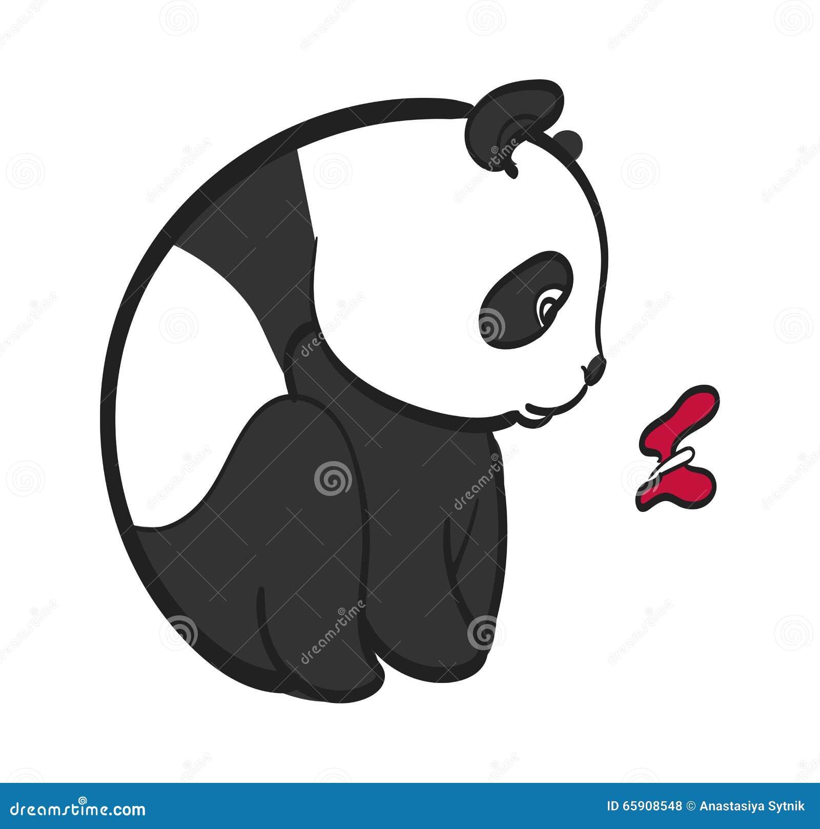 Dessin mignon de vecteur de papillon de panda illustration - Tete de panda dessin ...