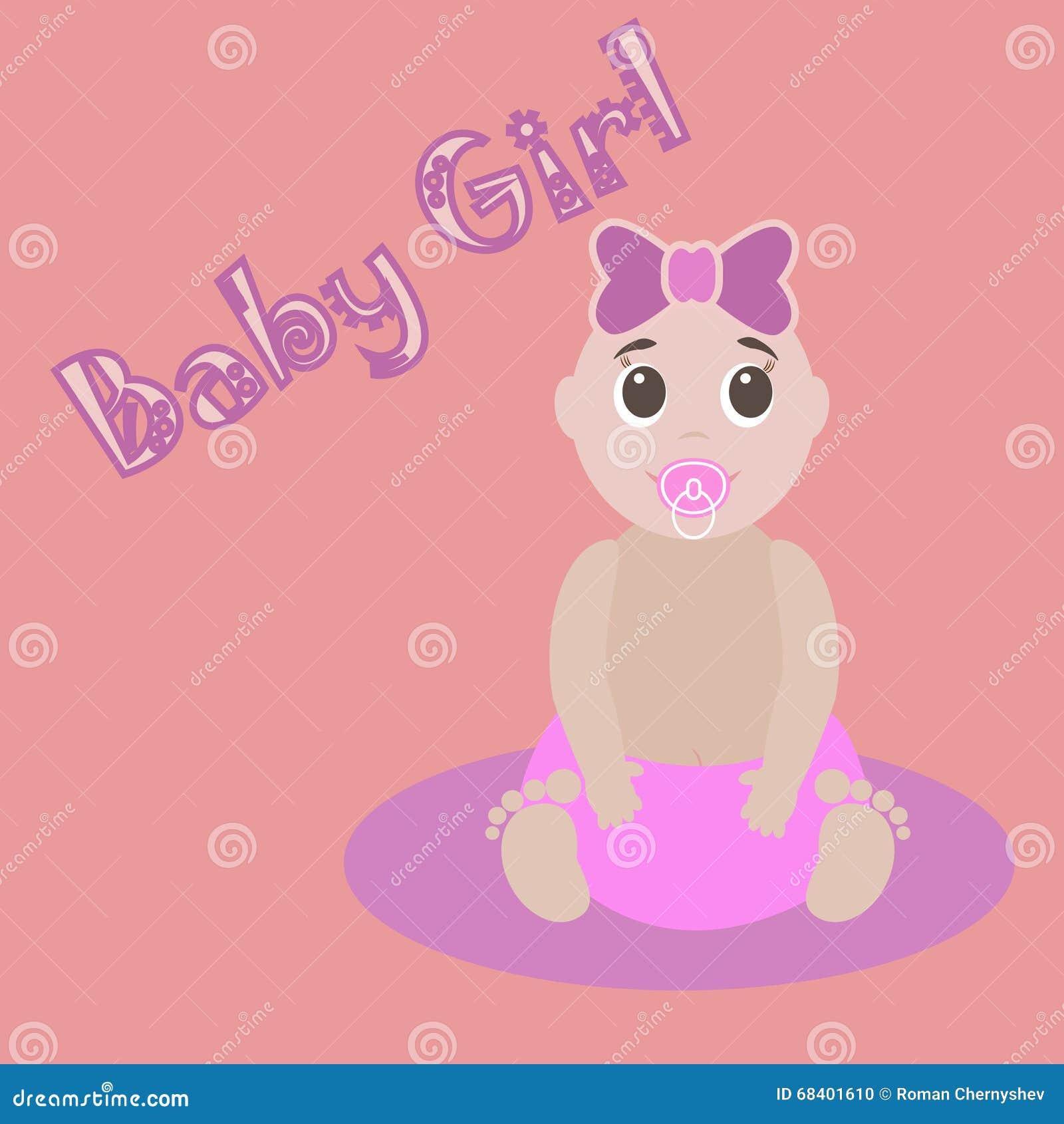 Dessin Mignon Pour Le Bébé Carte De Voeux De Girlnewborn De Bébé