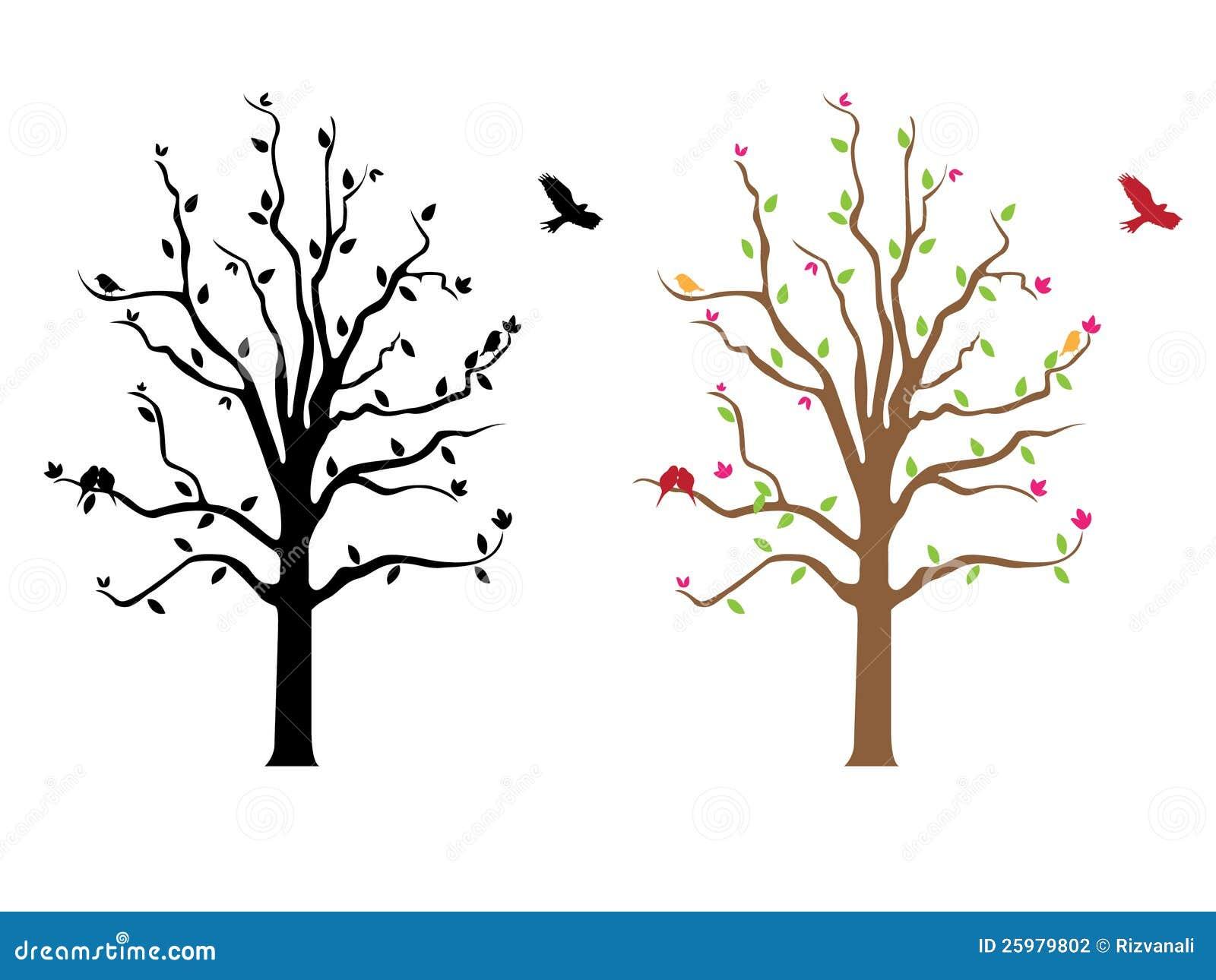 Dessin-modèle D'étiquette D'arbre Illustration De Vecteur