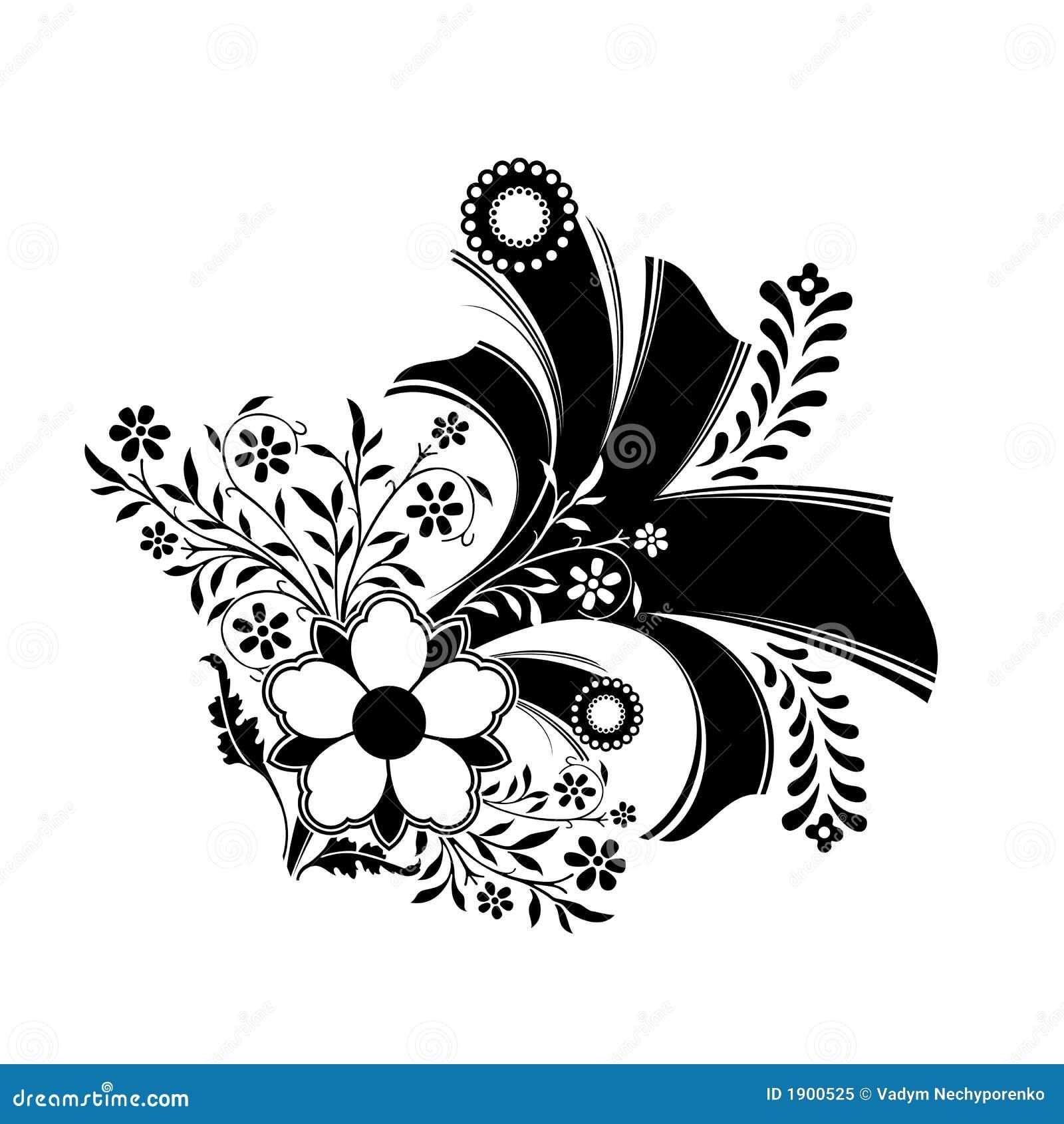 Dessin modèle Floral Abstrait De Décoration Dans La Couleur Noire