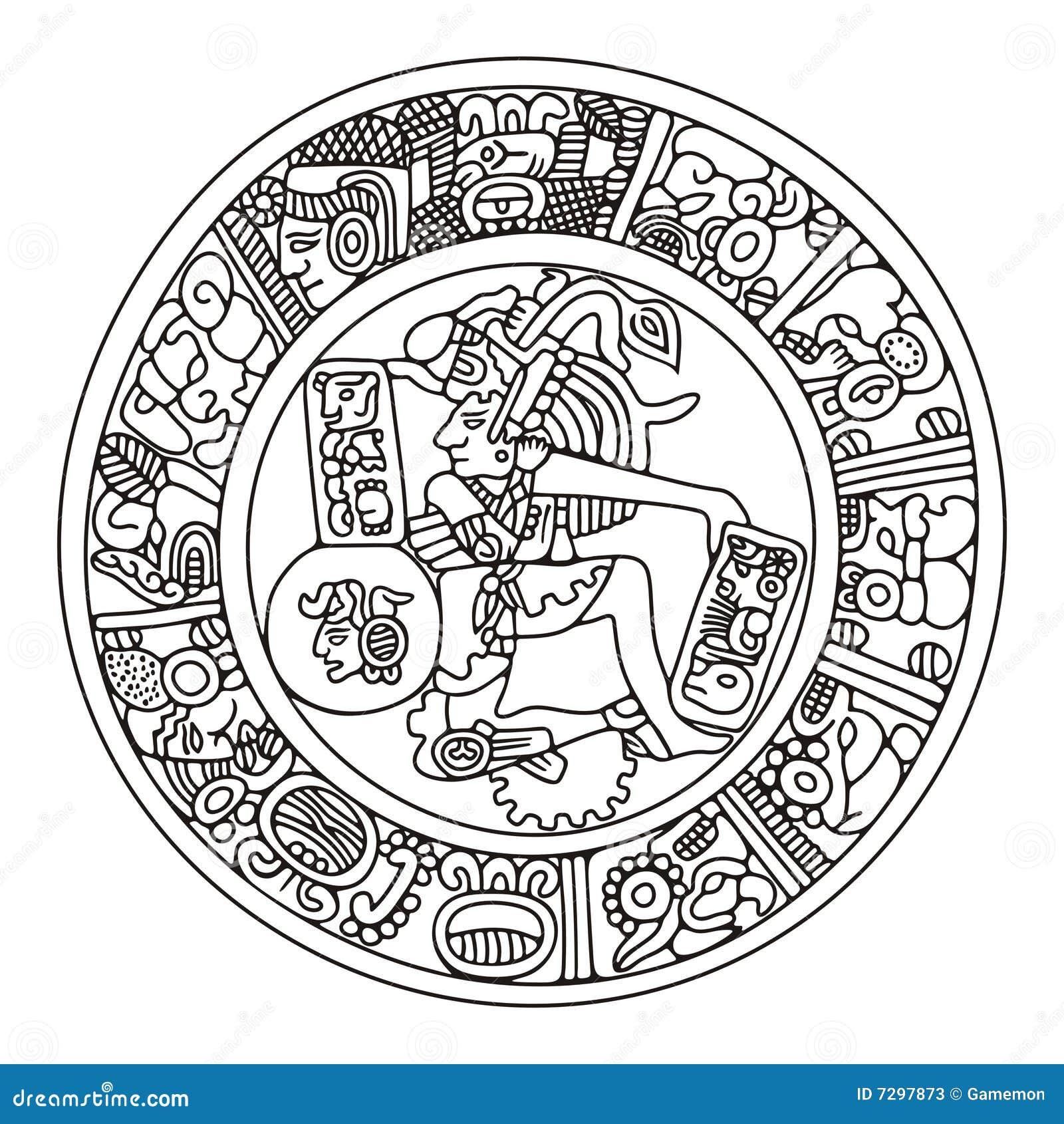 Calendrier Maya Dessin.Dessin Modele Maya Illustration De Vecteur Illustration Du