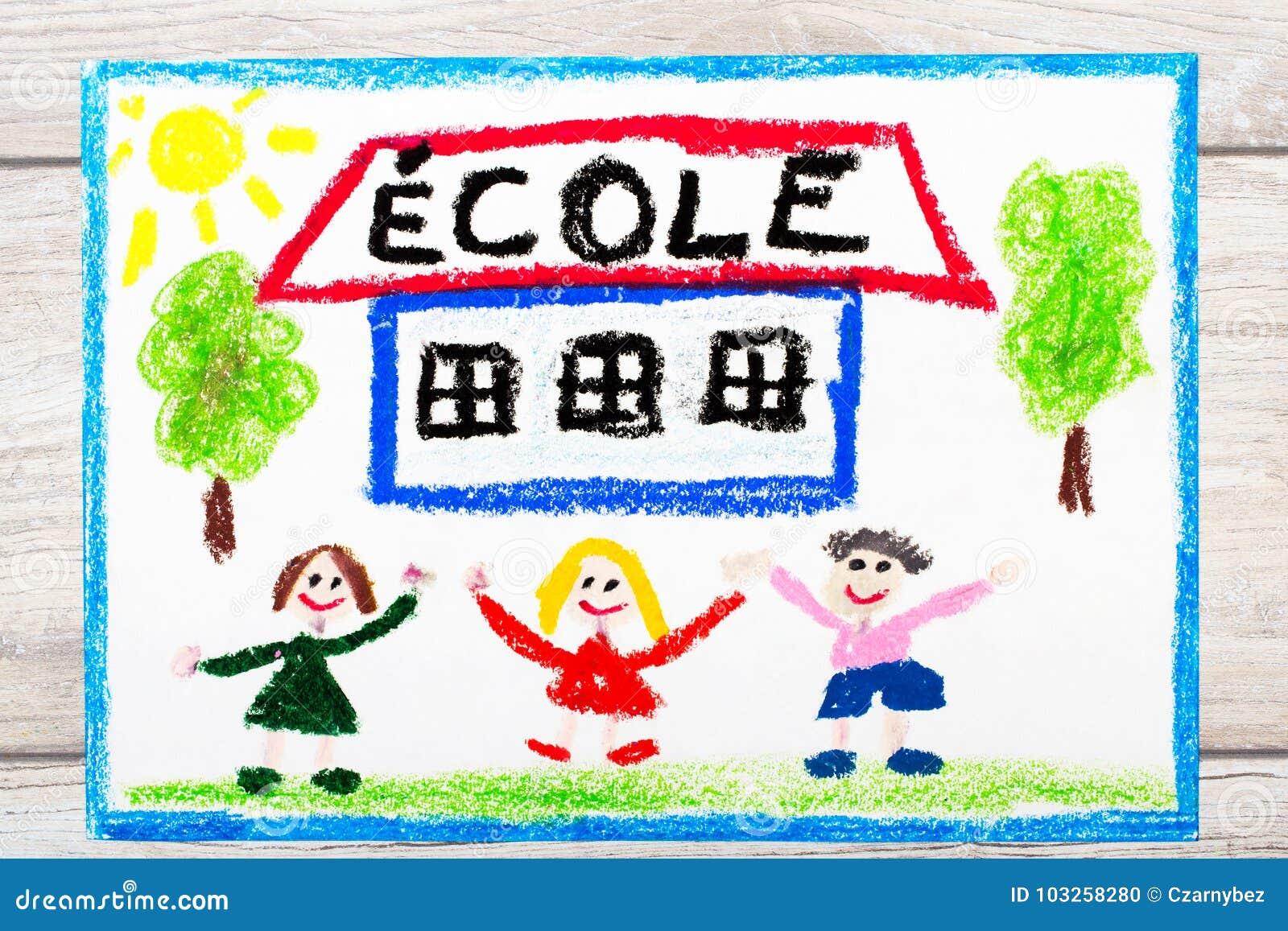 Dessin Mot Francais Ecole Batiment Scolaire Et Enfants