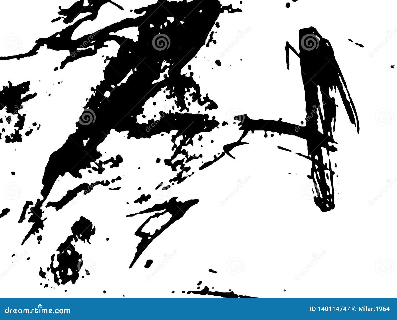 Dessin noir et blanc abstrait simple Dessin expressif Texture monochrome des courses de brosse