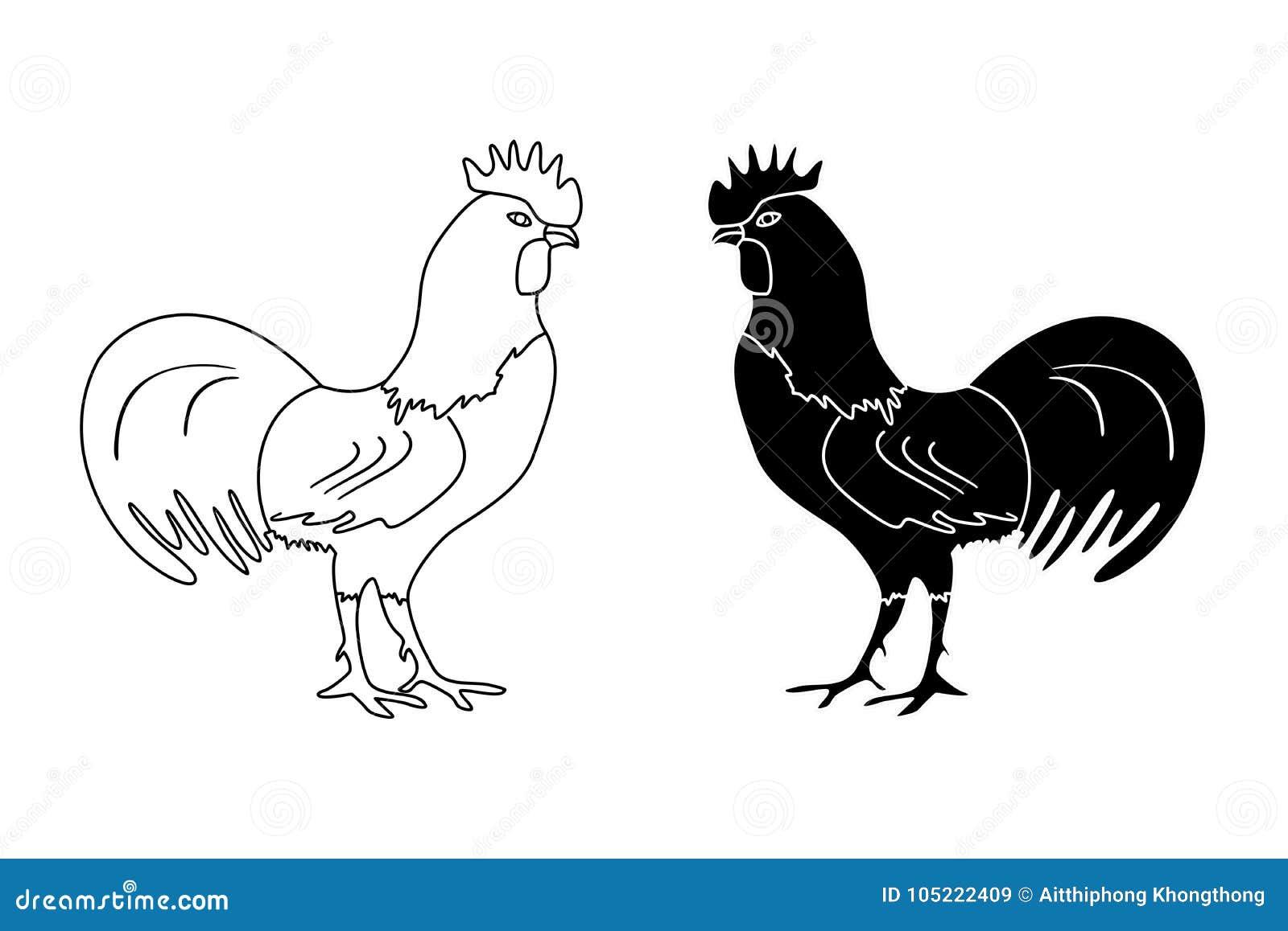 Dessin noir et blanc d 39 ensemble d 39 un coq sur un fond blanc - Dessin fond noir ...