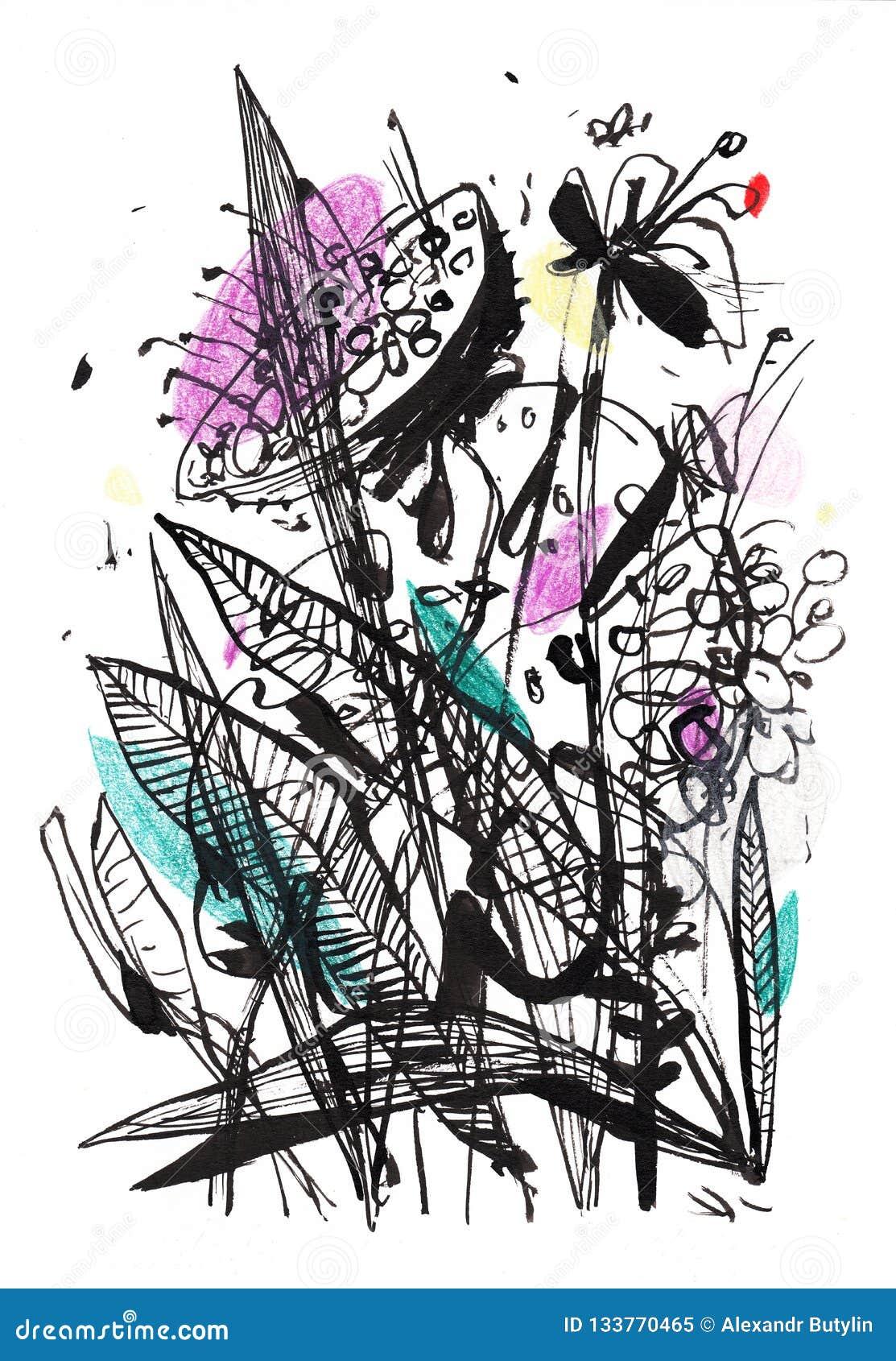 Dessin Noir Et Blanc Dun Bouquet Avec Quelques Accents De