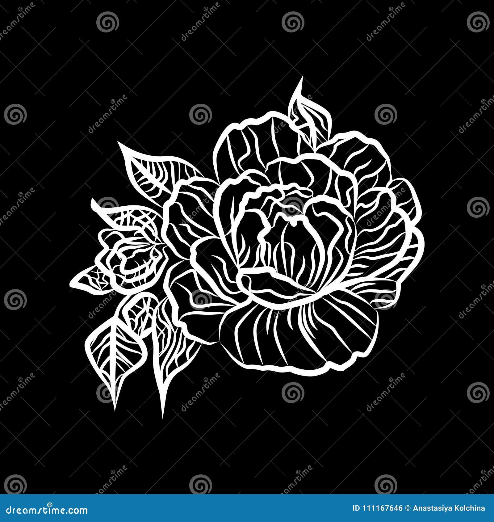fleur rose dessin noir et blanc. Black Bedroom Furniture Sets. Home Design Ideas