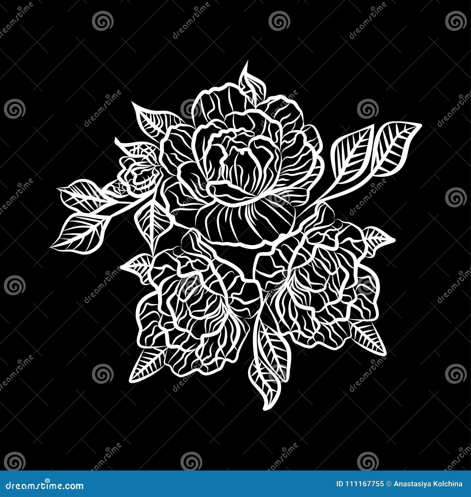 Dessin Noir Et Blanc D Un Tatouage De Rose Silhouette De Branche